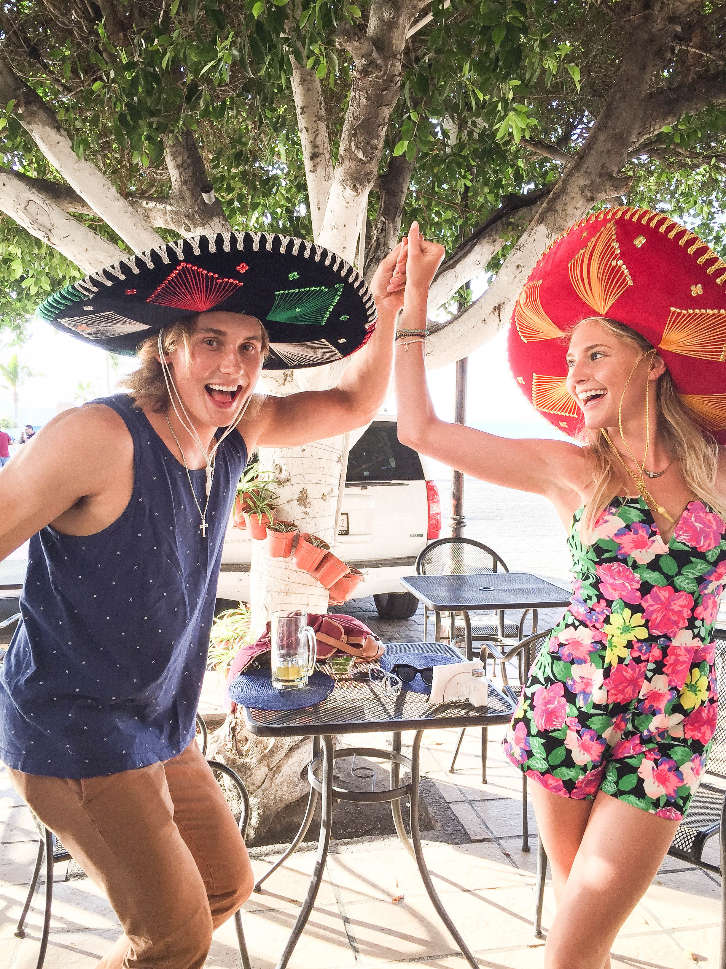 G and I had our own little fiesta in downtown with the locals sombreros