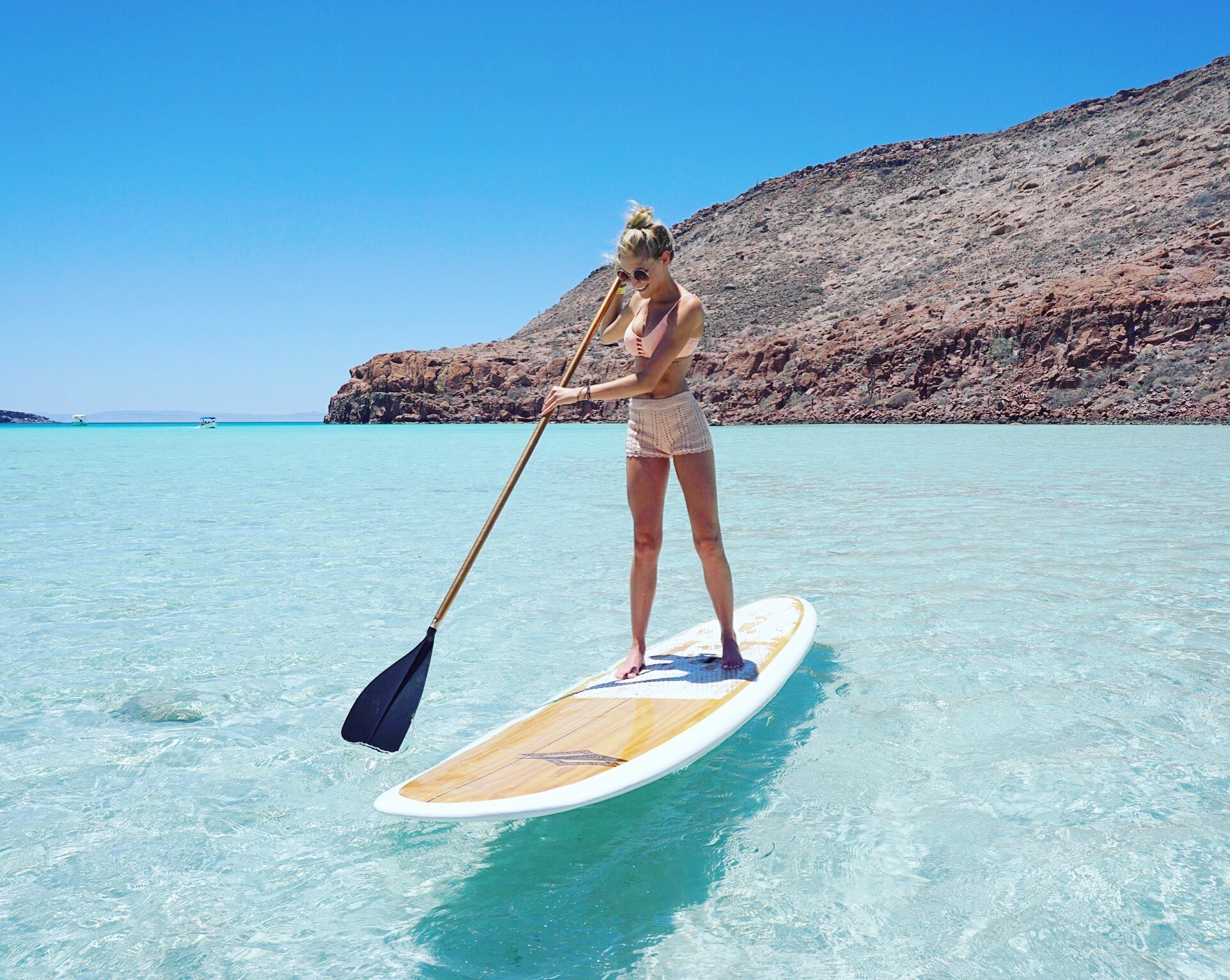 First time paddle boarding! The wind kept pushing me out to sea I had to swim surf style back