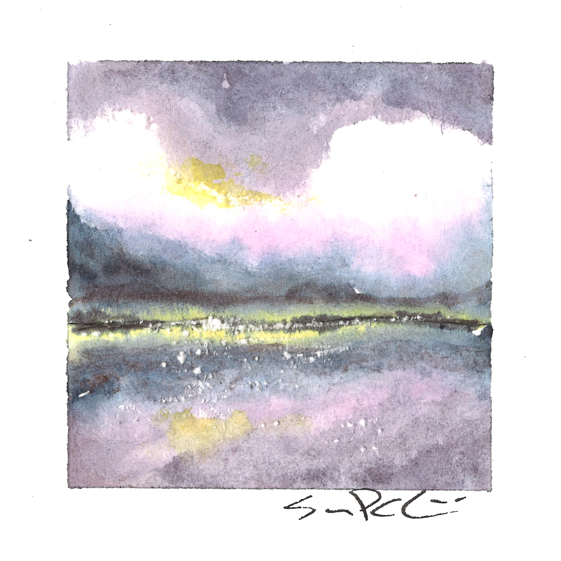 pink clouds over the lake - SOLD