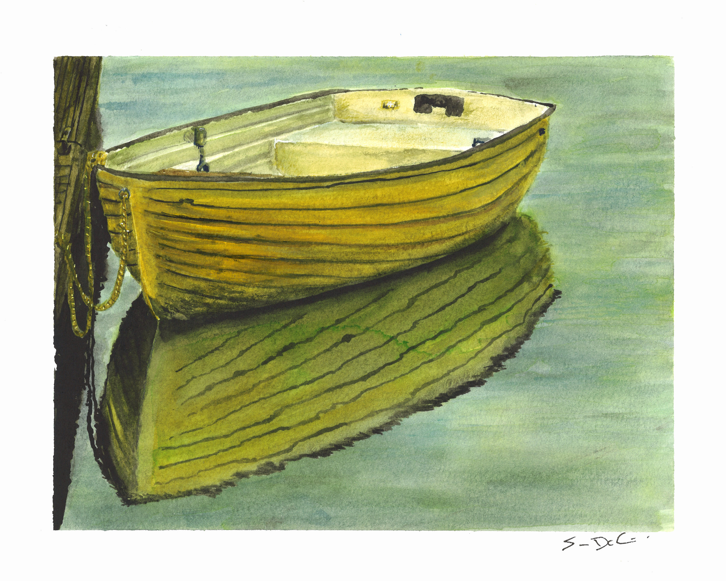 yellow rowboat - SOLD