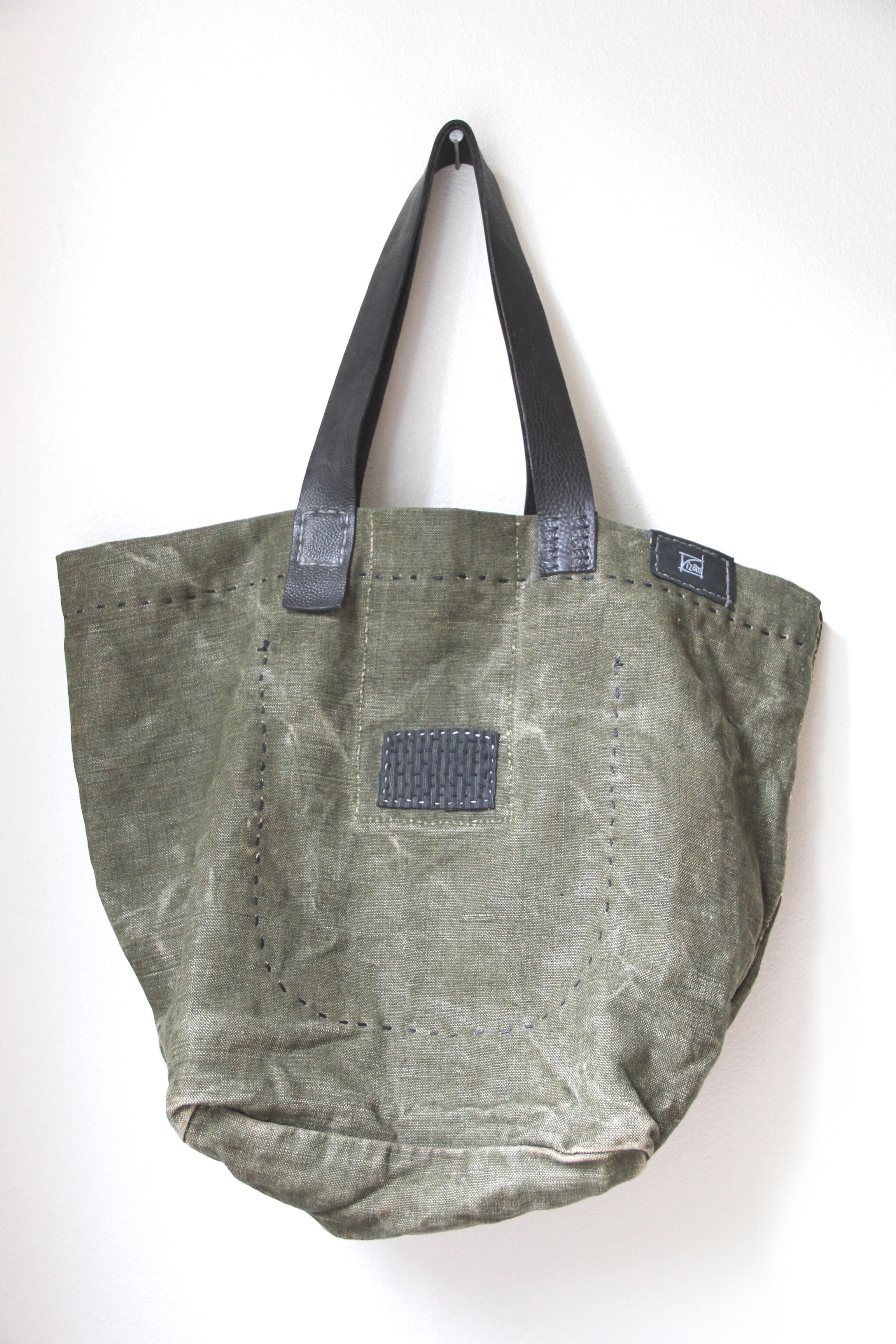 Dark & Stormy Vintage French Military Linen Bag
