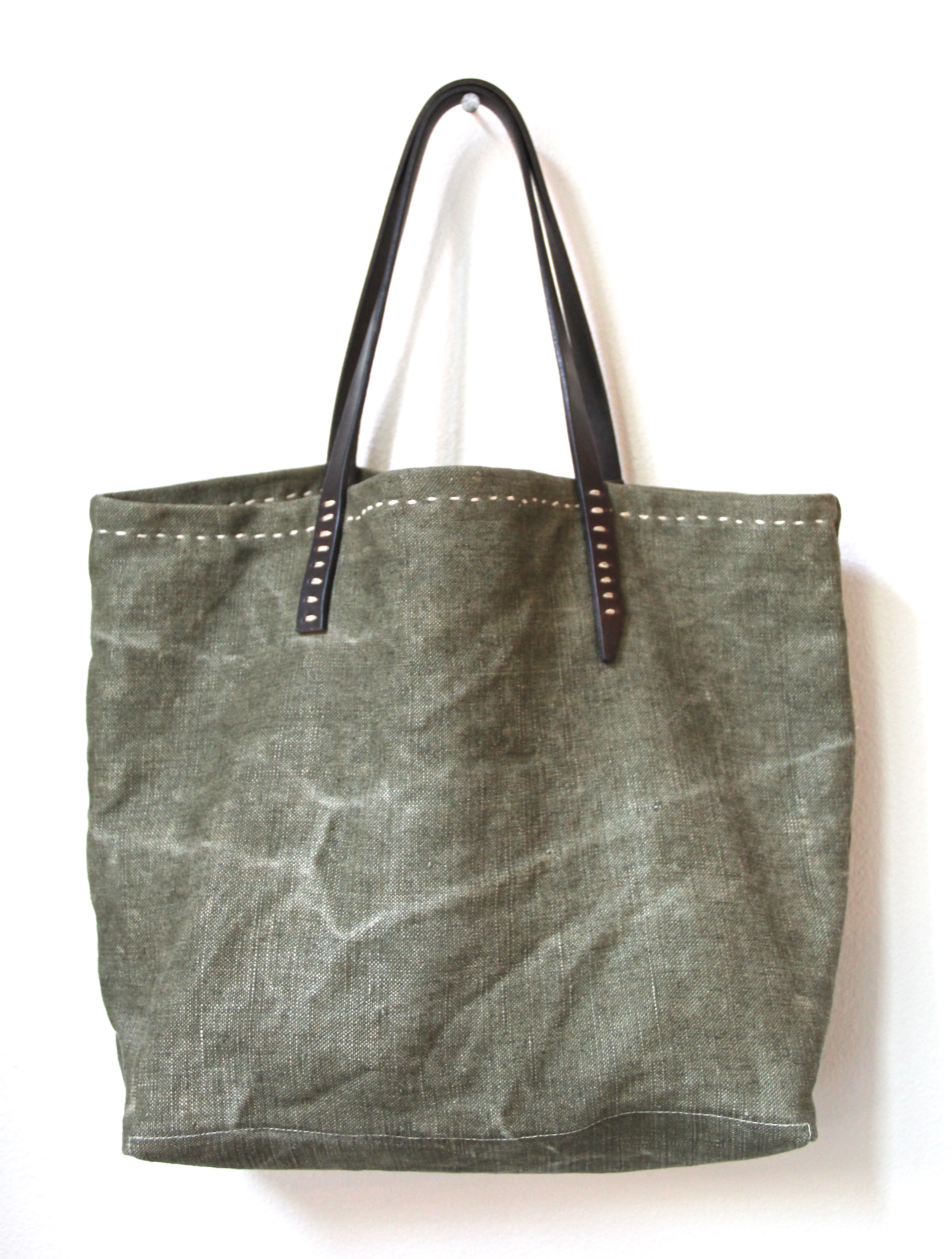 Handmade Vintage French Linen Tote Bag