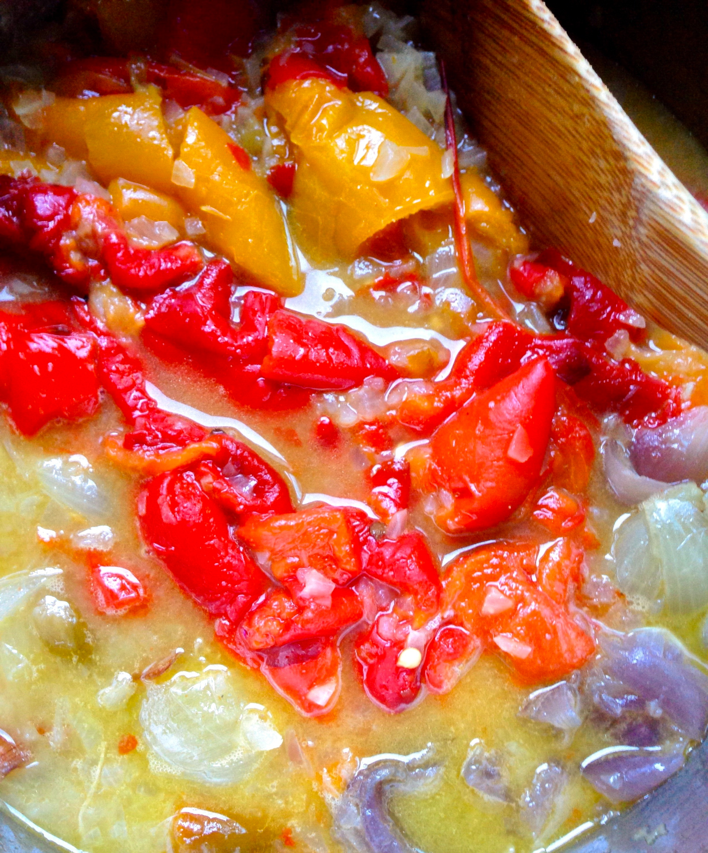 Roasted Red Pepper Coulis - in the making