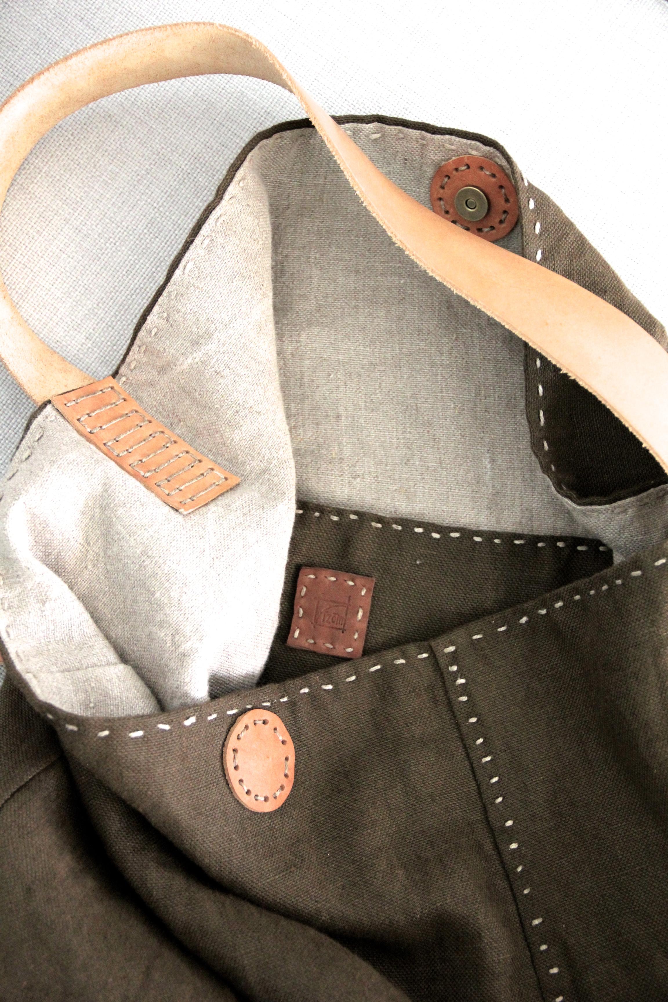 Handmade Eco Linen Slouch Bag - Bark