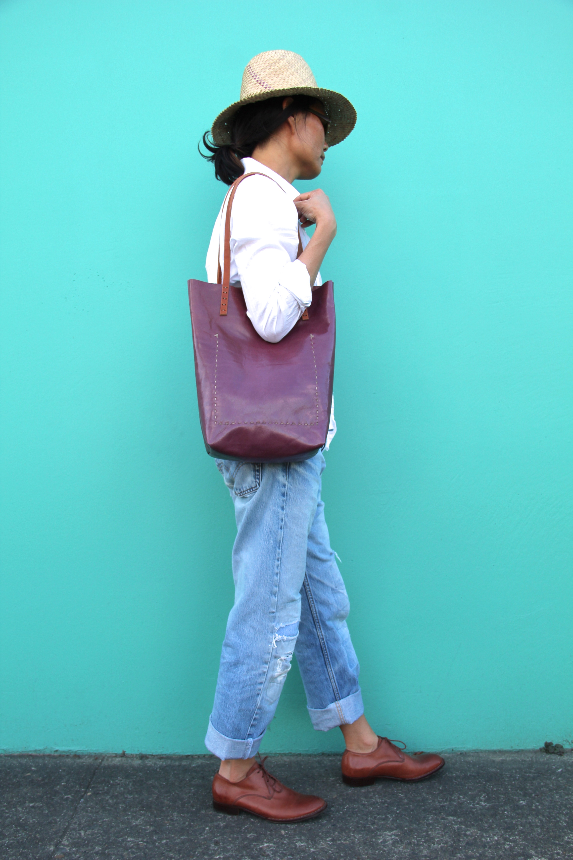 Simple Vintage Leather Tote in Ruby Rose