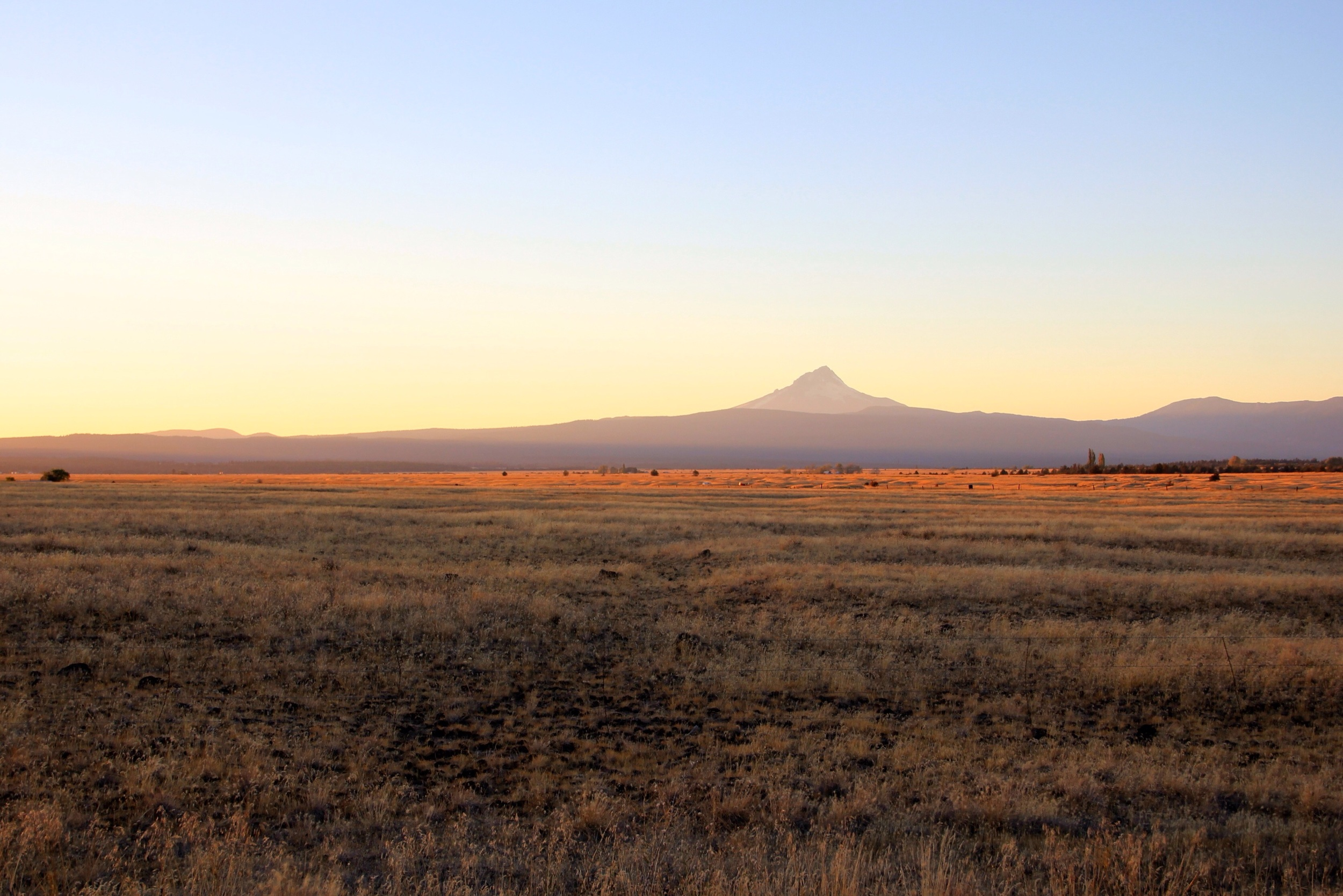 Mount Hood in distance at sunset