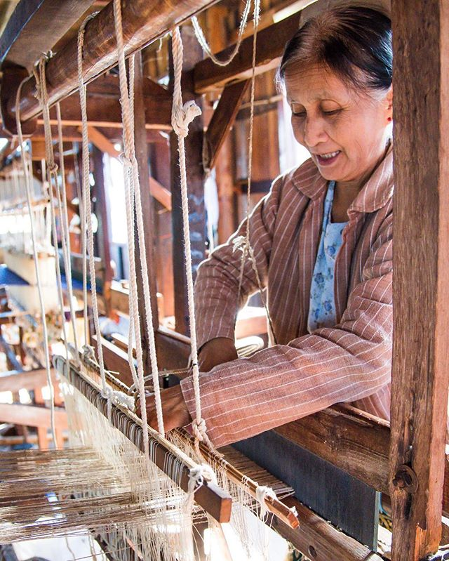When it says made in Myanmar :: The women of the Inn Paw Khon village cut the lotus stems and begin extracting the fibers by hand. The fibers are twisted and rolled together with water, spun, and then washed again. They repeat this process again and again until they get the long, fine threads. The spun fibers will then be cooked in different dye baths using jackfruit, bark, seeds, lotus leaves, & flower petals. A square meter of this fabric requires at least 20,000 lotus stems and takes a skilled artisan 40 days to produce.