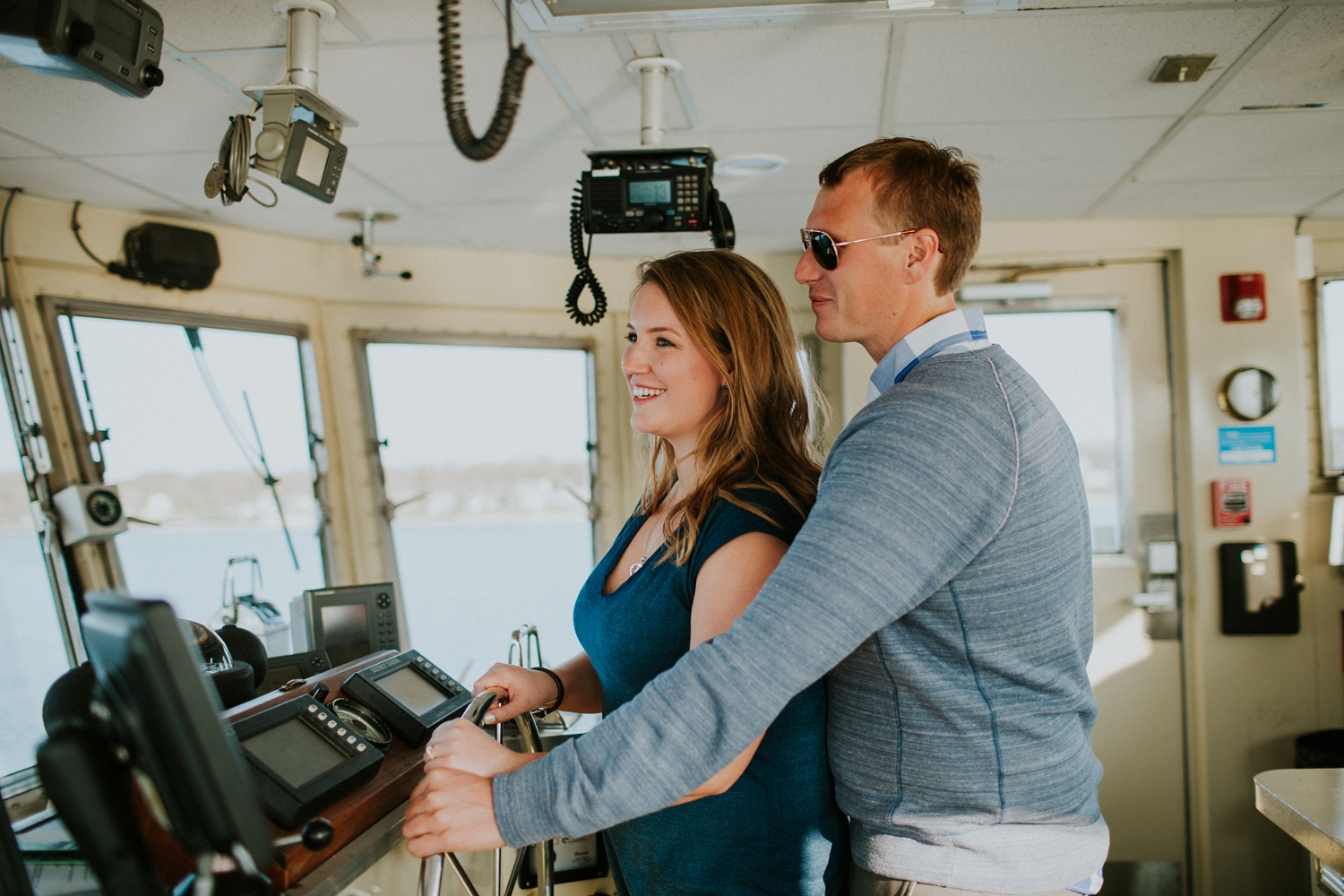 Allie & Jeff's Engagement Session on the Casco Bay Lines Ferry to Long Island, ME