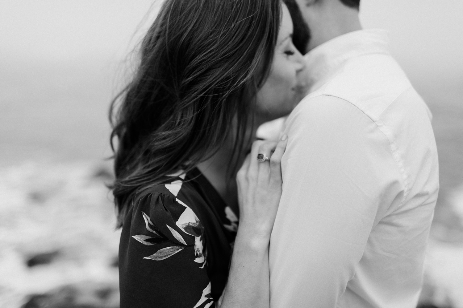 Ogunquit Maine Engagement photographer Black and White