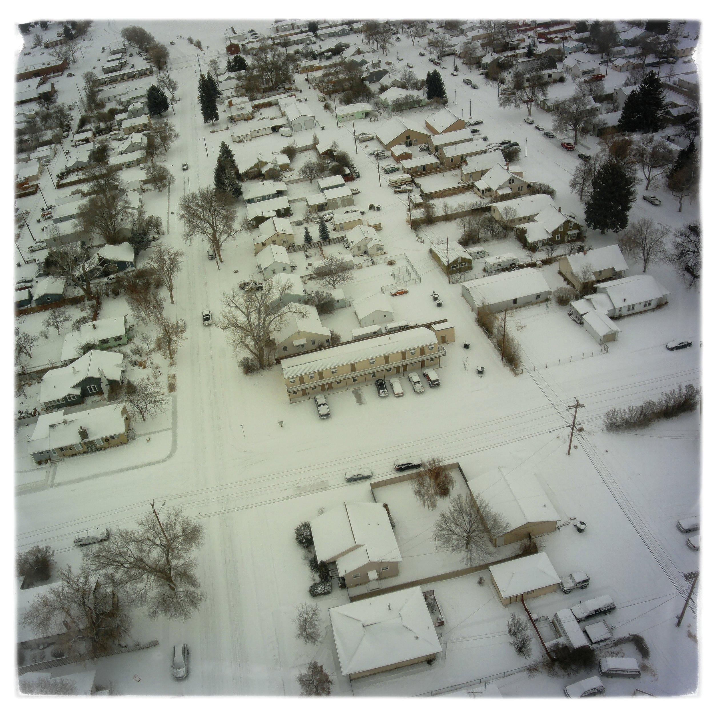 My frozen neighborhood for the last flight of 2017.