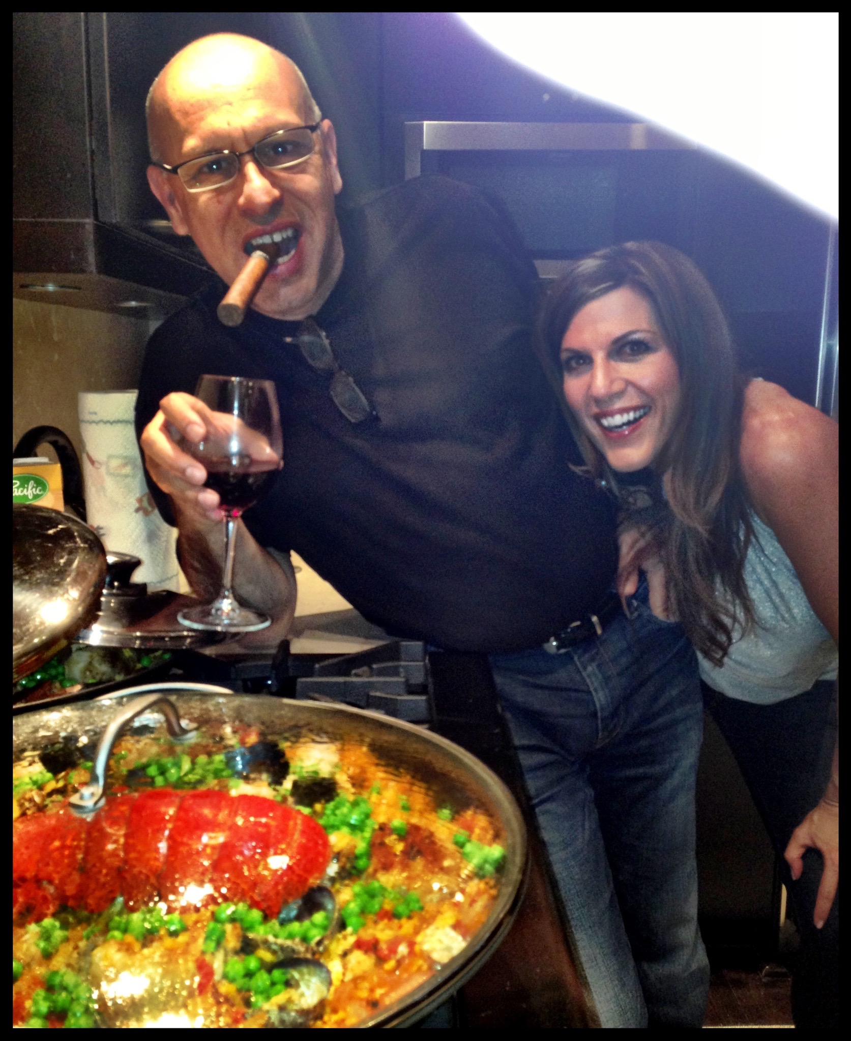 Isabel and I making our famous paella.