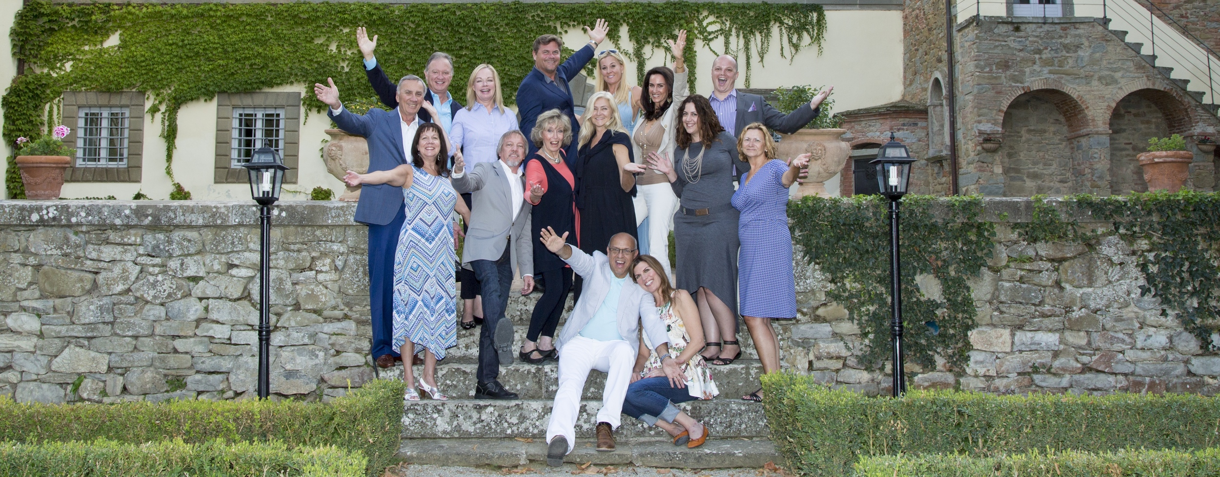 Group photo of our 2015 Candelaria Design Tour Italy travelers at the Villa Piazzano