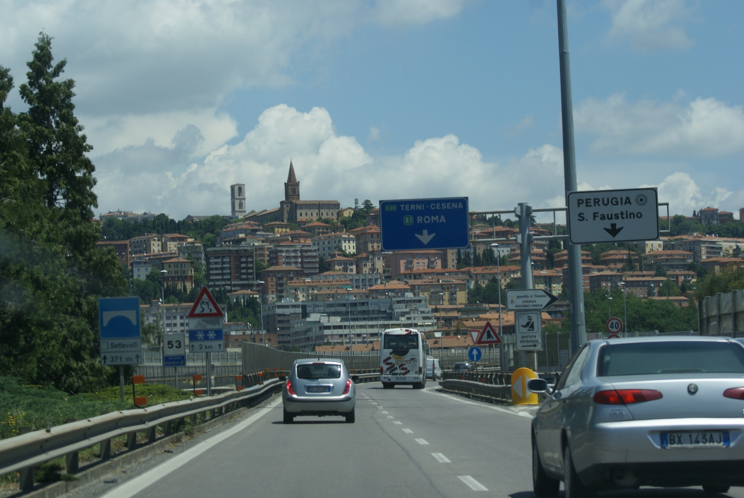 On the road to Assisi driving through Perugia.