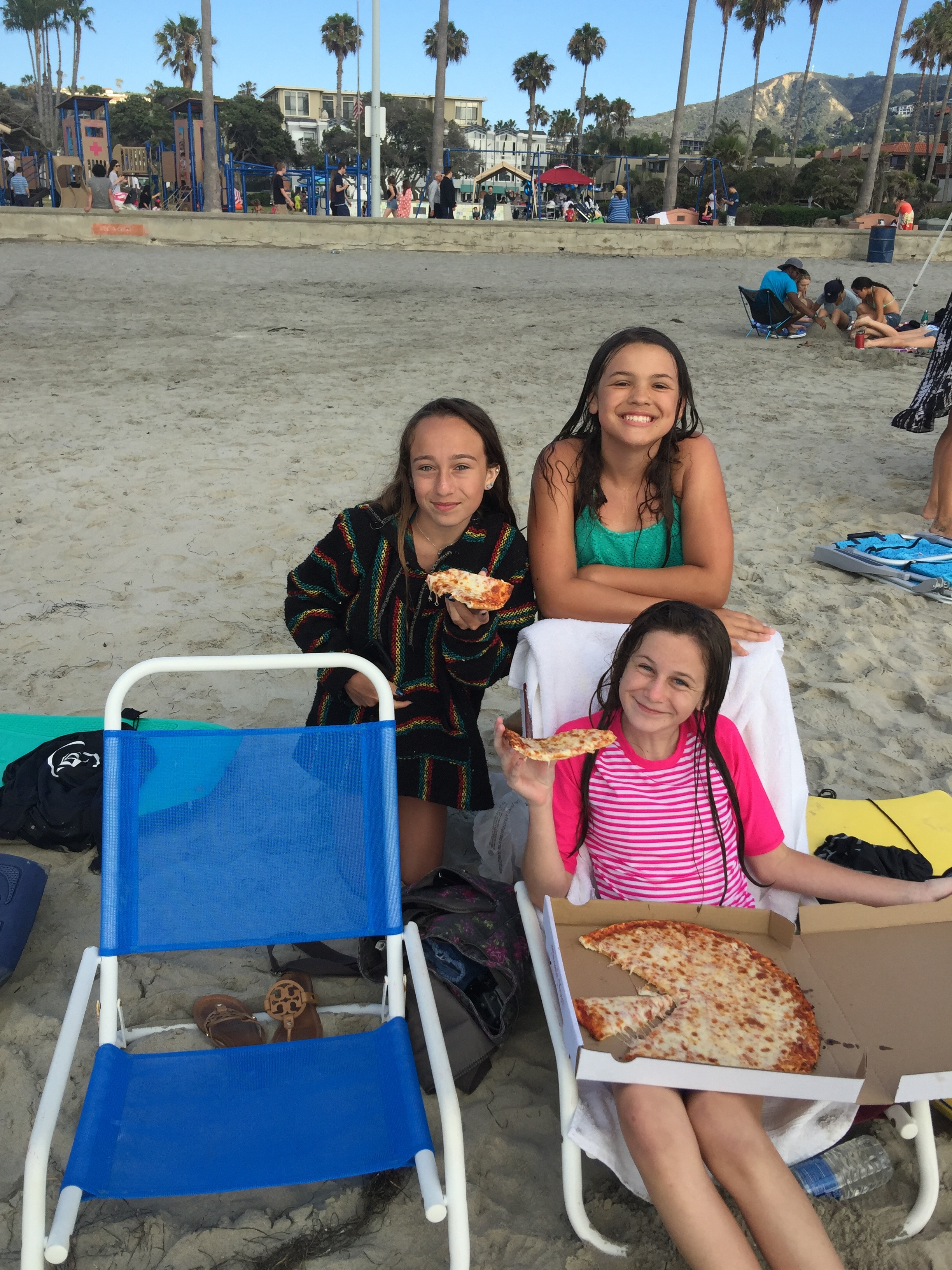 Pizza party on the Beach in La Jolla