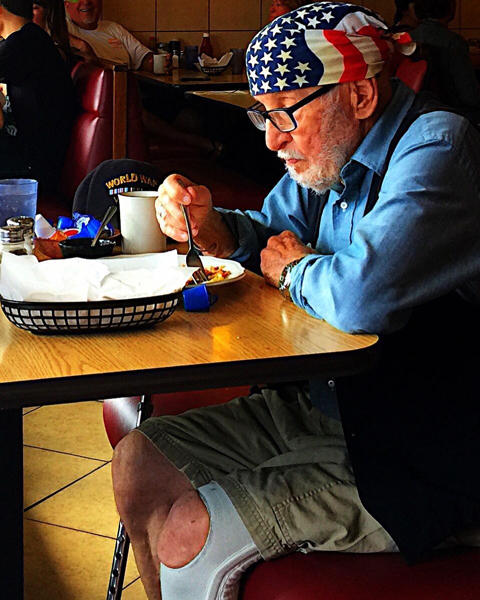 American WWII Vet at breakfast at Margarita's Restaurant in Ocean Beach