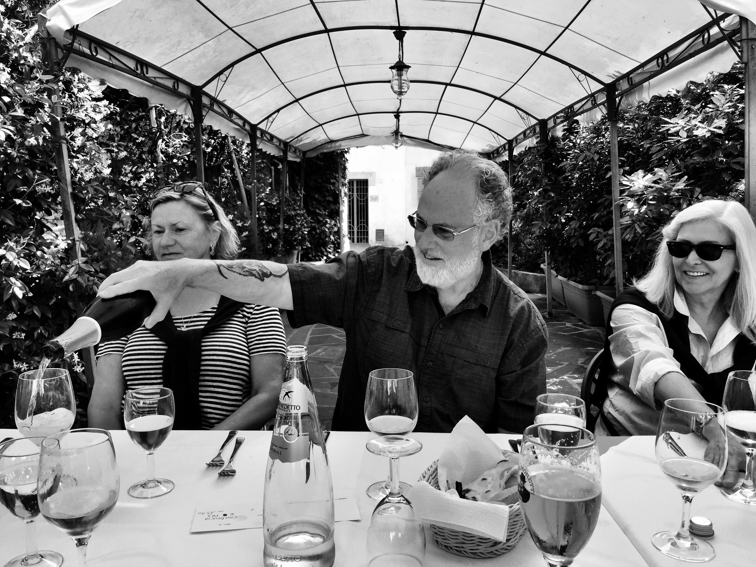 Martha, Philip and Rebecca at the Ristorante La Cantina at Castiglione de Lago, Umbria