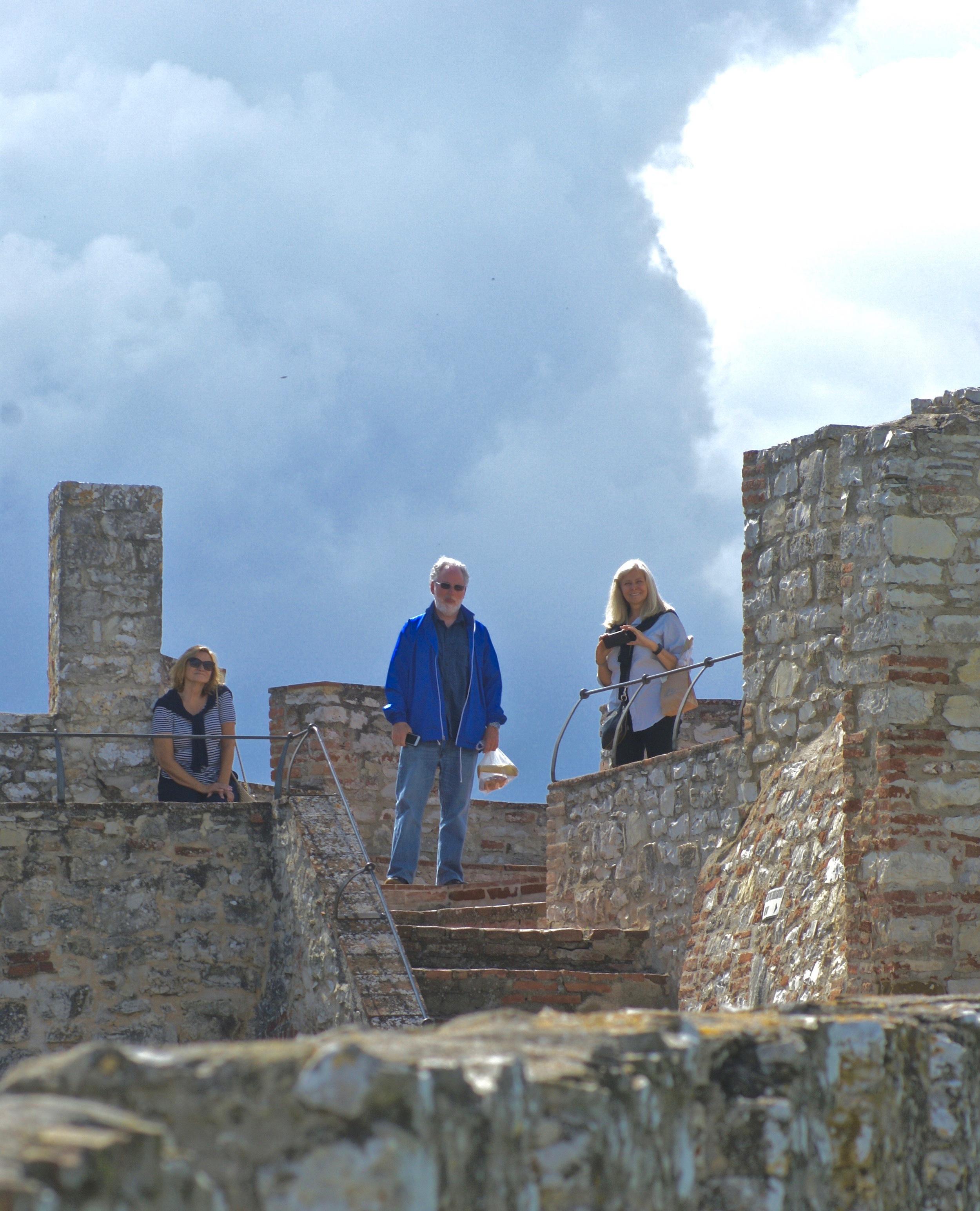 Martha, Philip and Rebecca exploring the castle.