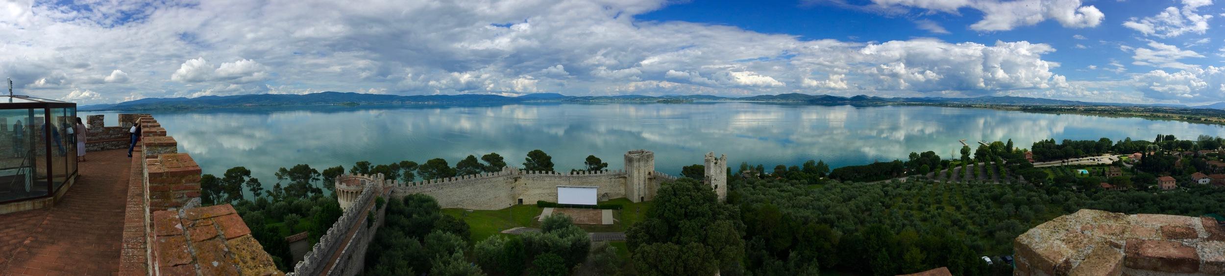 Lake Trasimeno from the castle in Castiglione de Lago