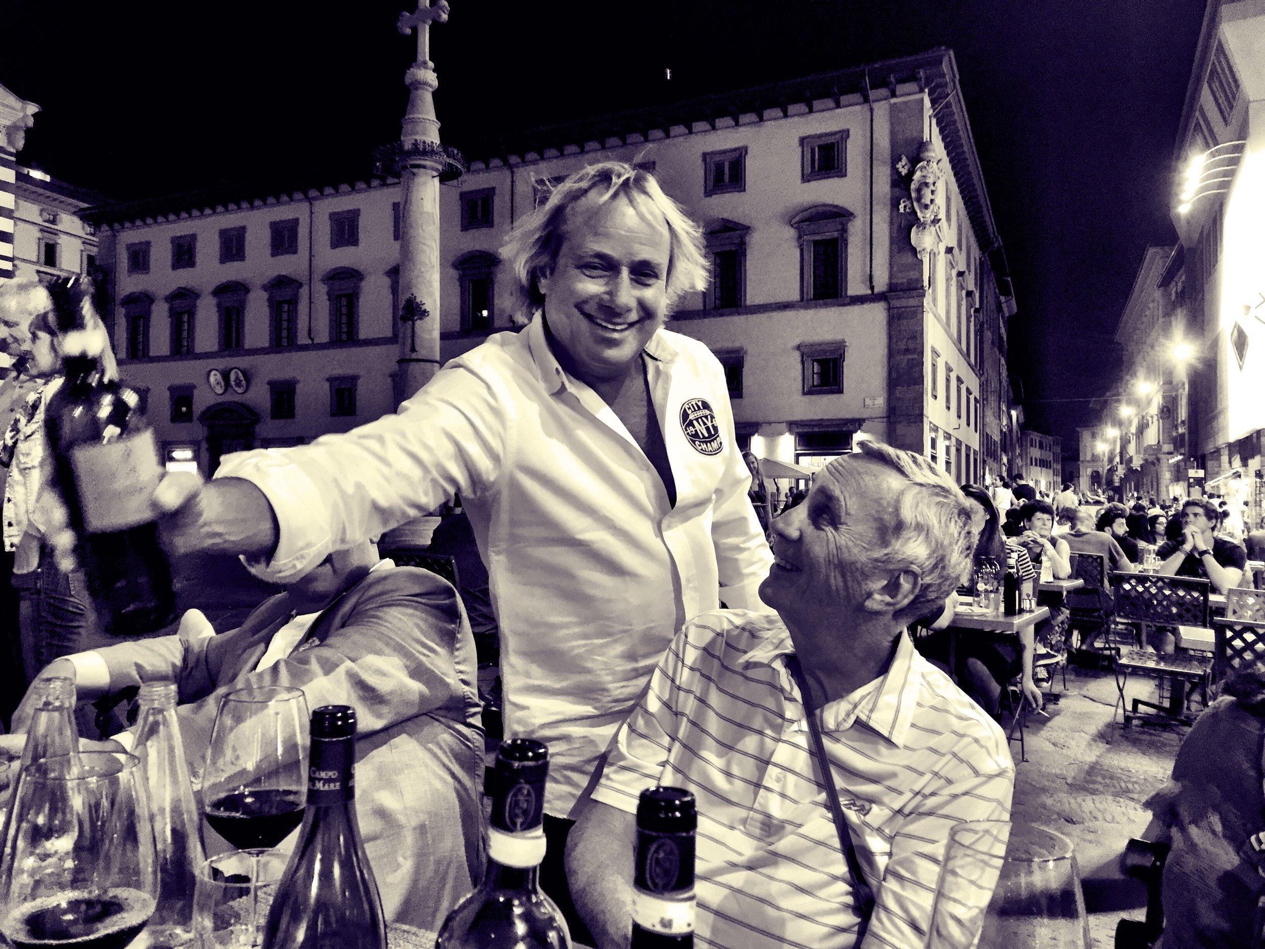 Walter Spitz serving the vino in Firenze