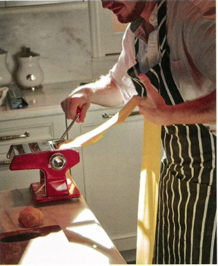 Damon Wake cranking away on the Candelaria Collection Pasta Machine!