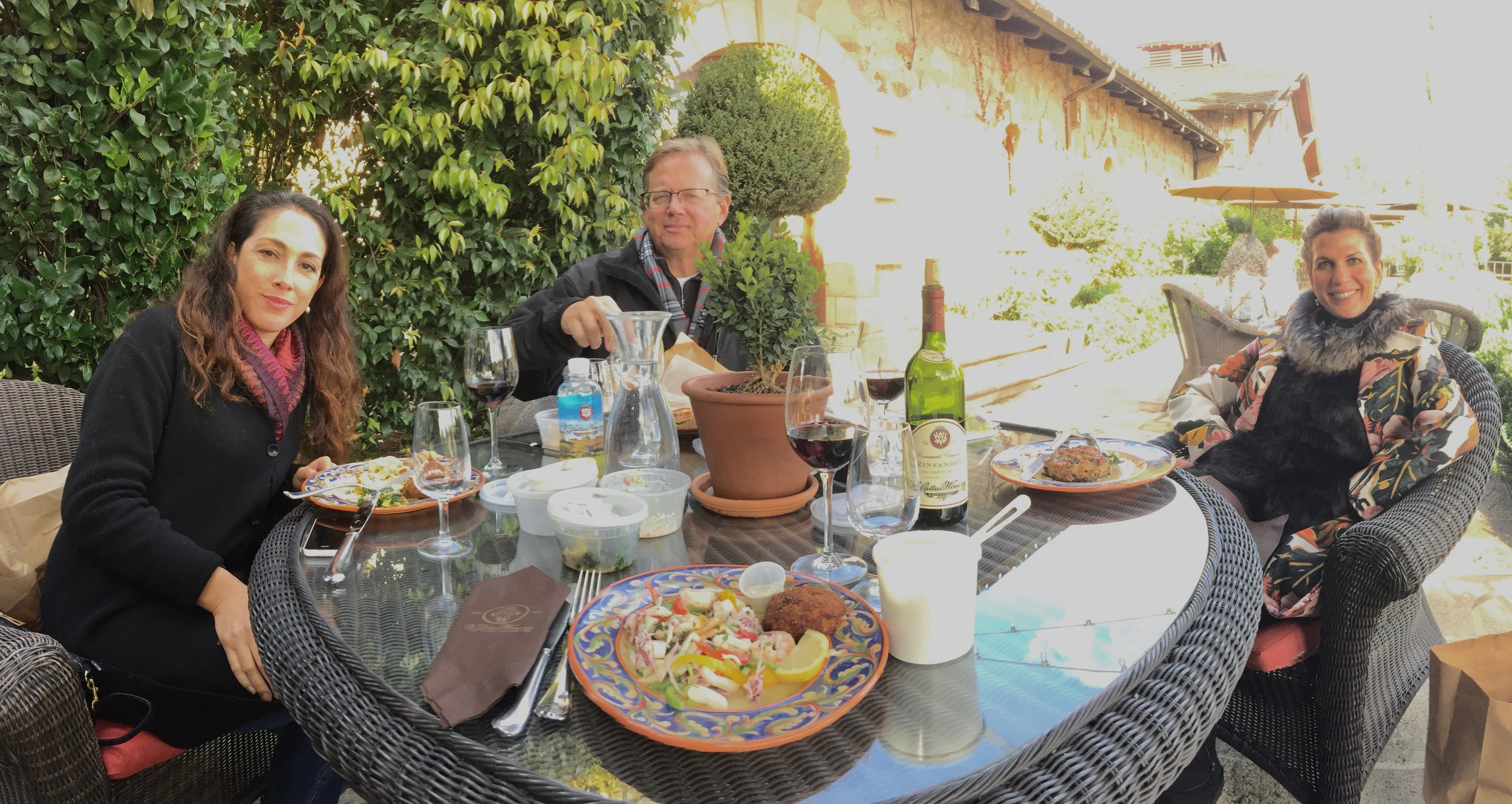 Picnic time on the terrace at V.Sattui