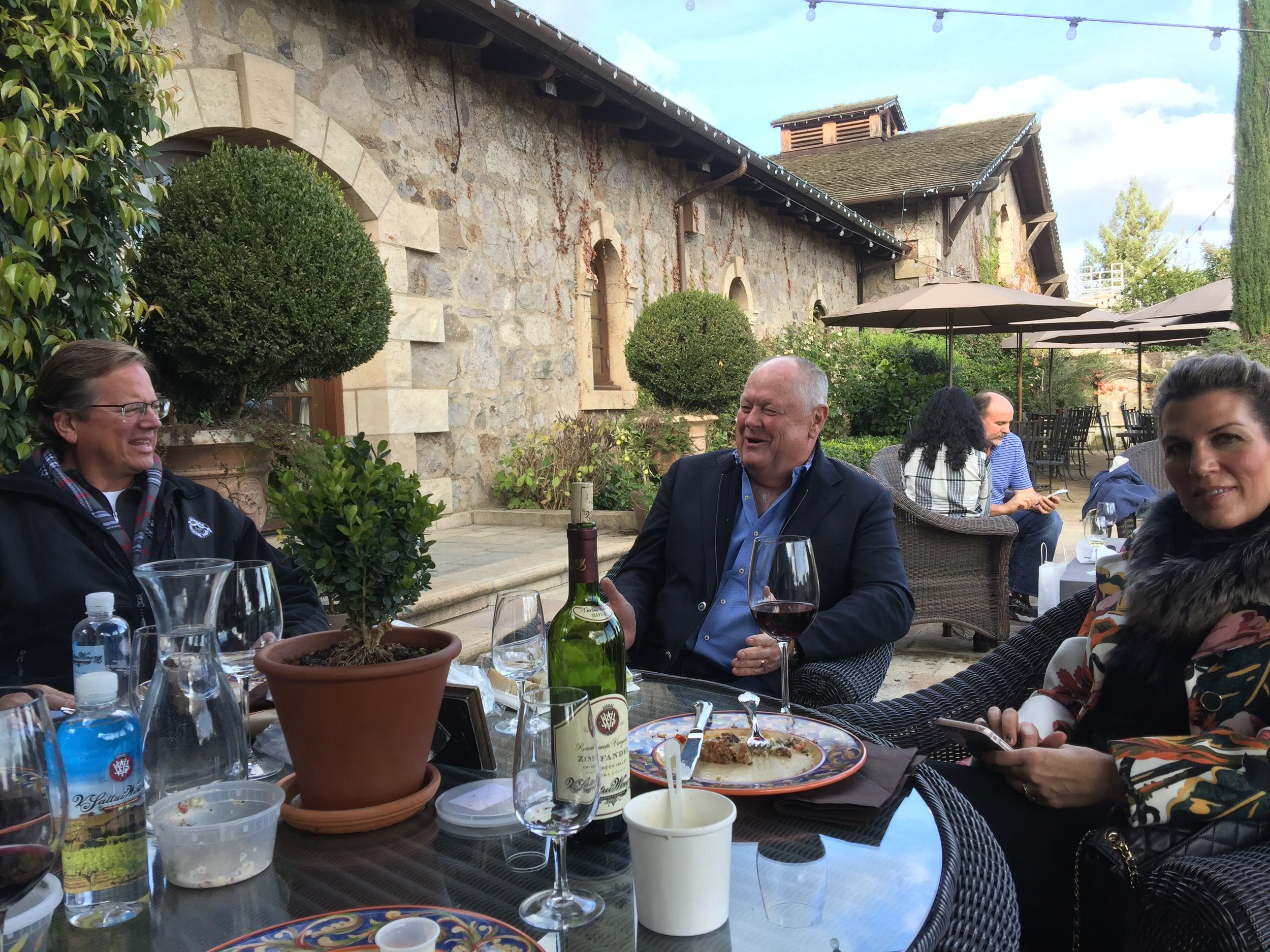 Sharing stories with V.Sattui Winery President, Tom Davies