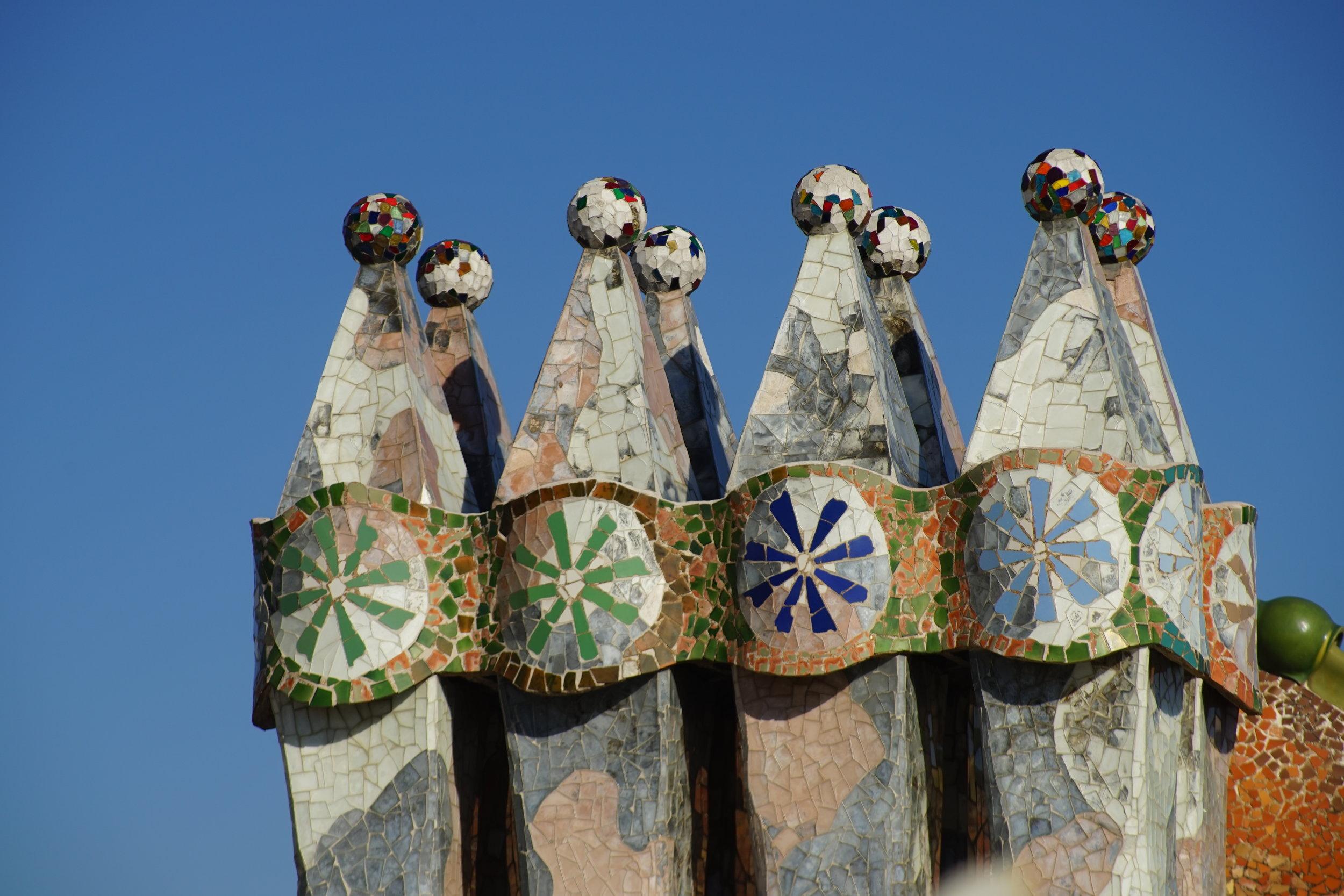 Rooftop chimneys at Casa Batllo