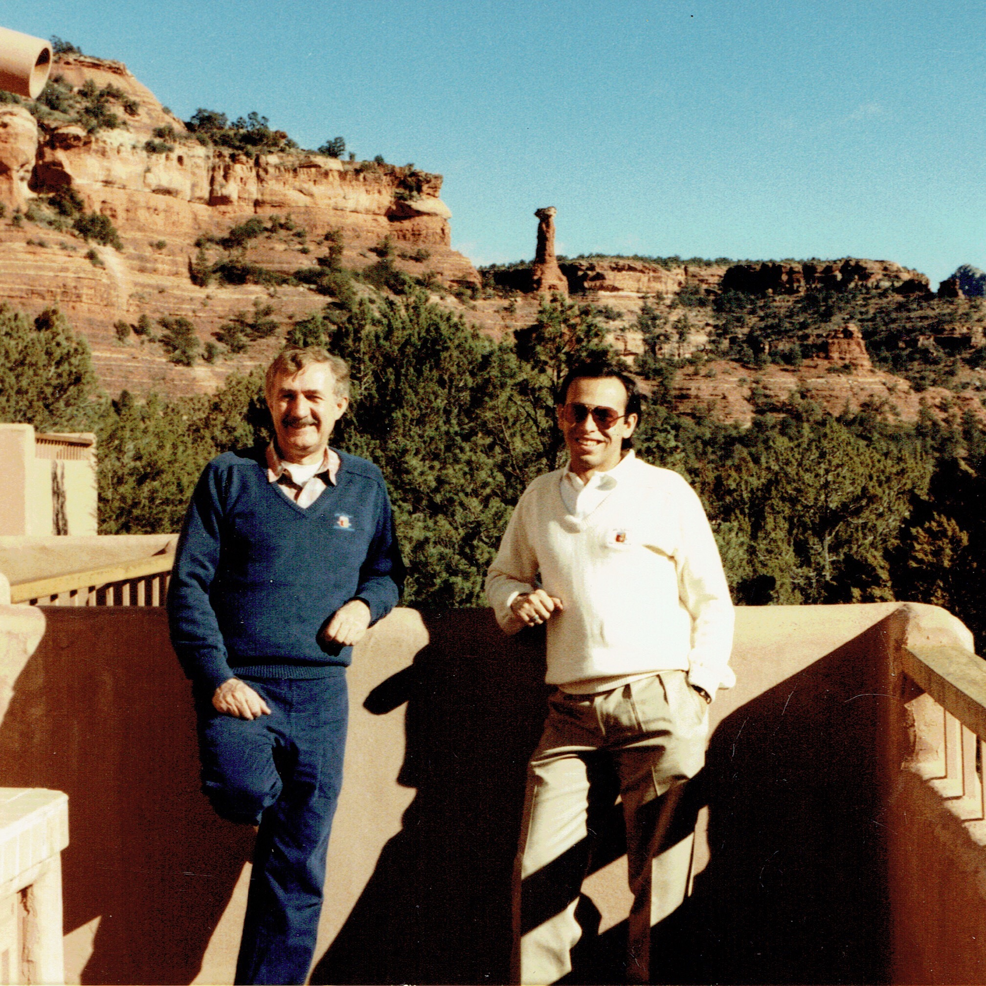 My mentor, the late George W. Christensen, and I at our Enchantment Resort circa 1987
