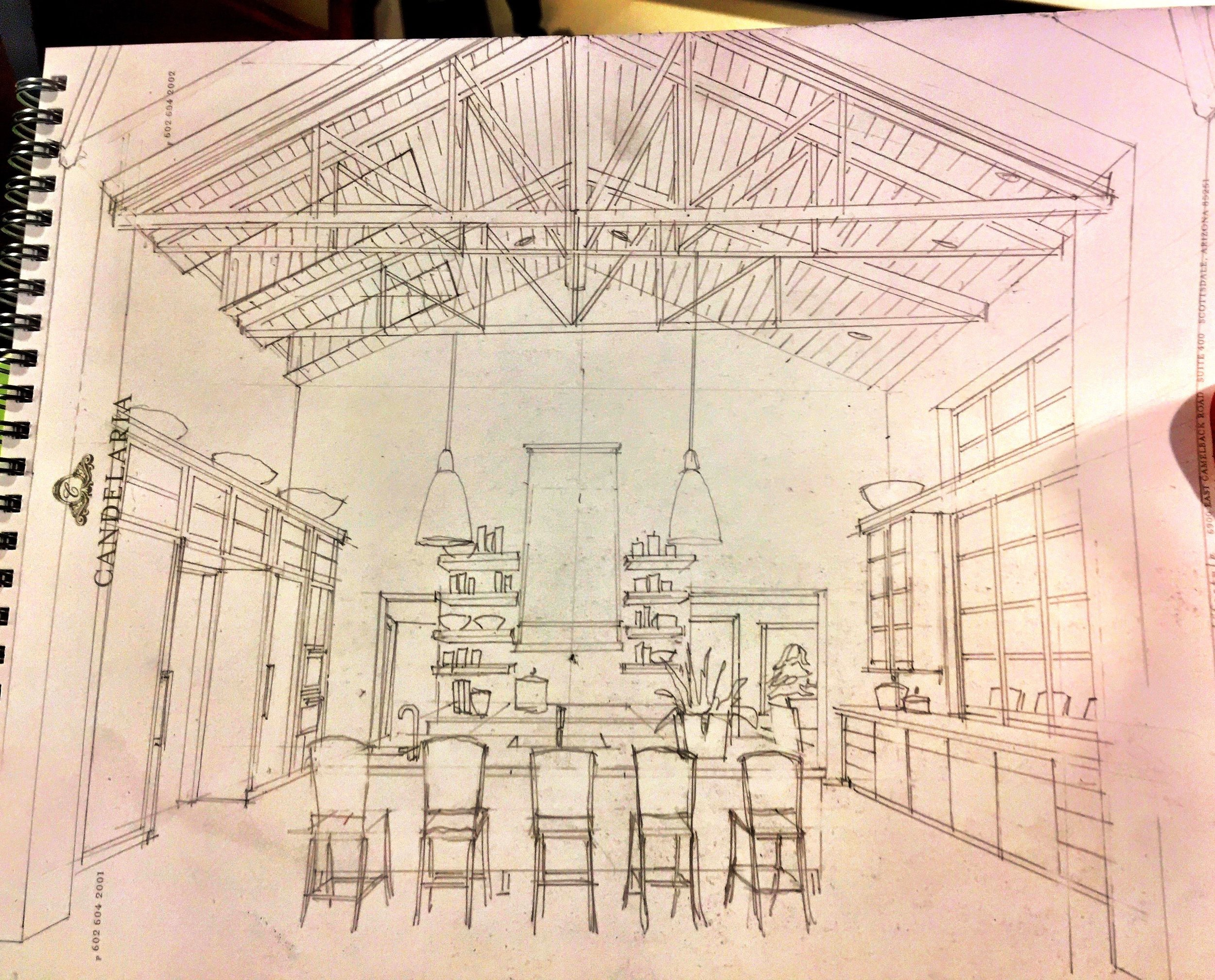 Concept sketch for a new Arcadia Kitchen