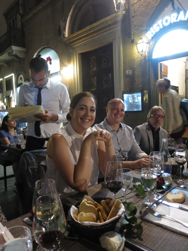 Night of the big proposal in Florence, Italy during the Candelaria Design Tour Italy
