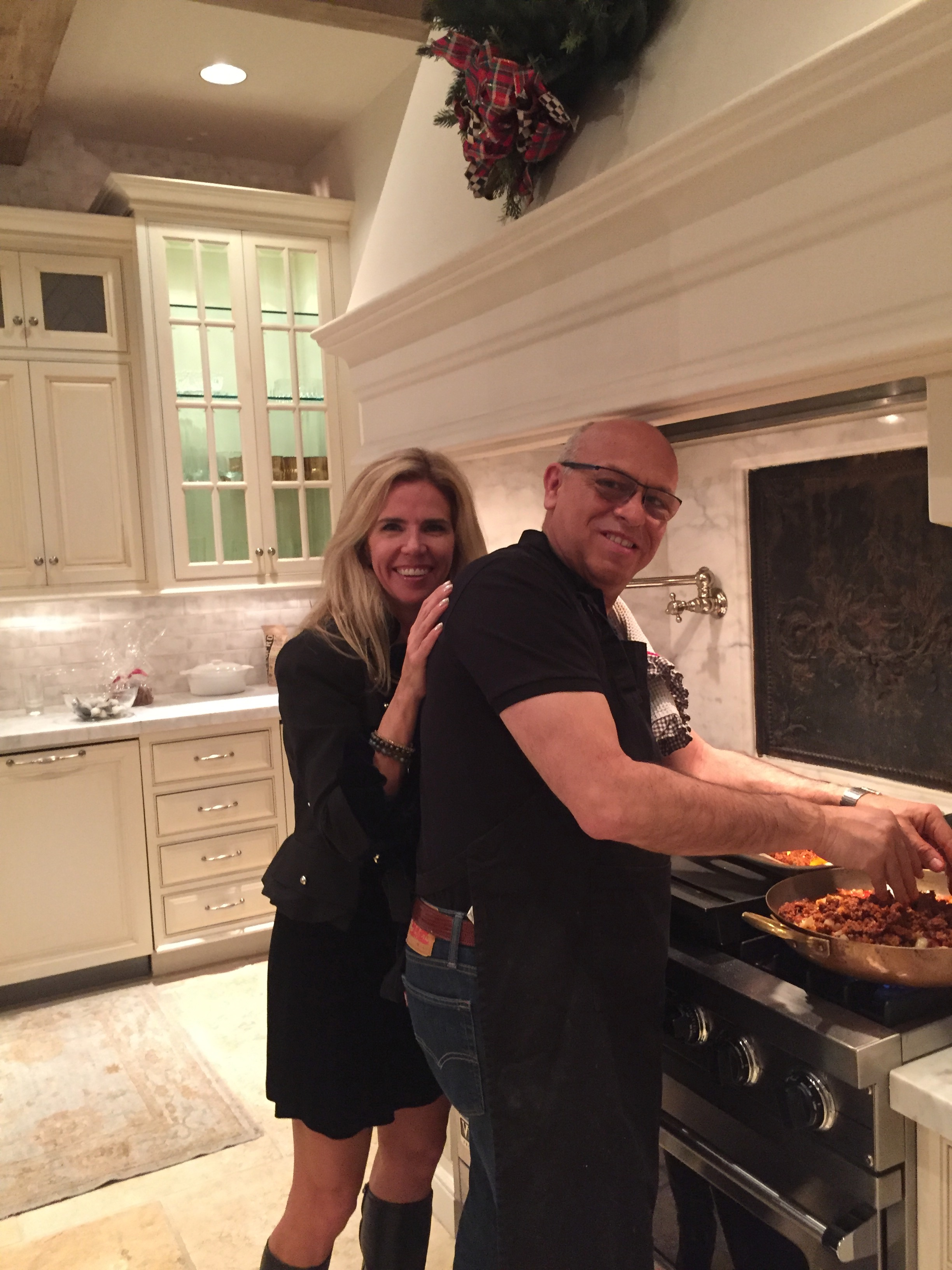 Making paella with Melissa for our cooking class at the Mullard Residence in Phoenix!
