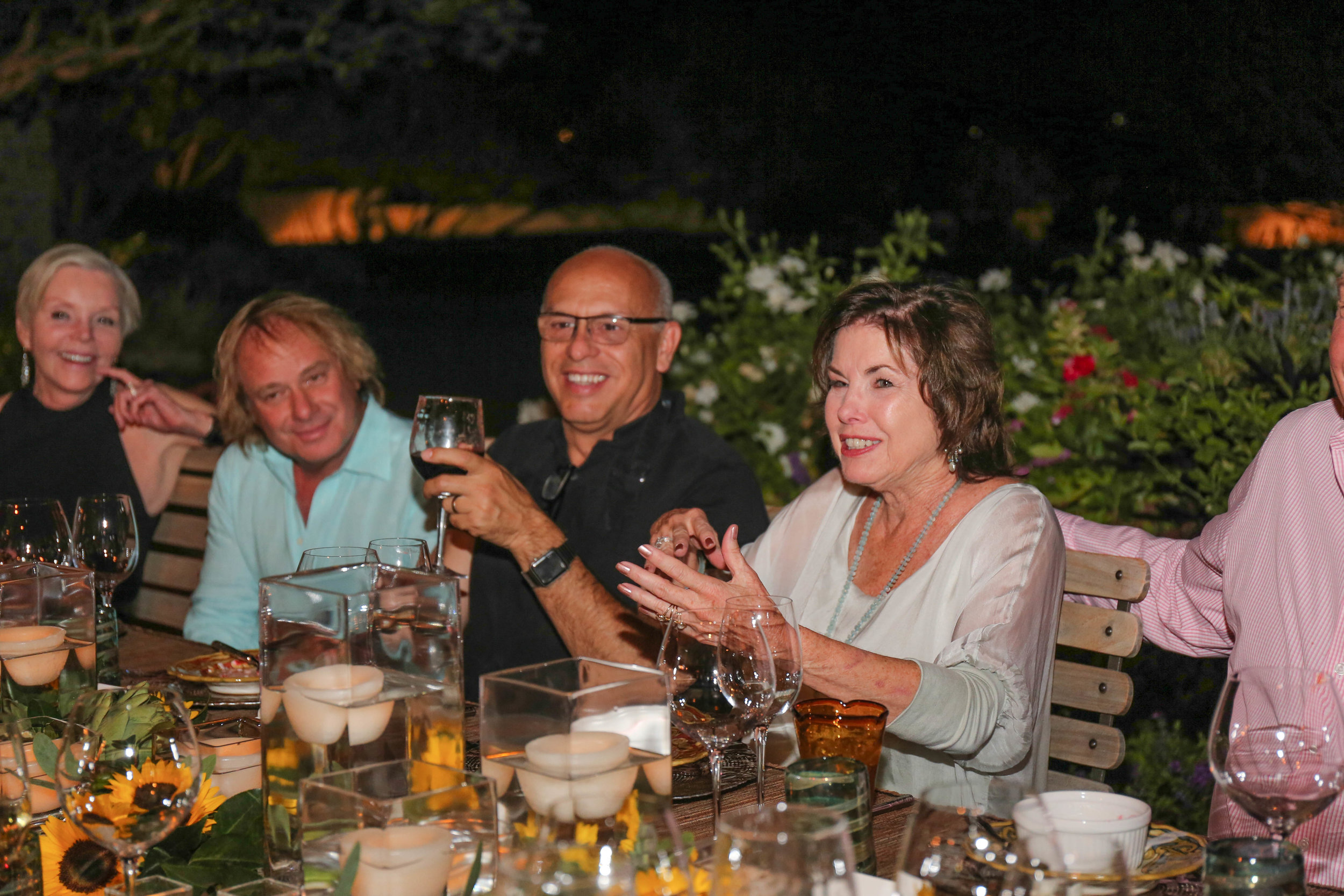 Donna Vallone, Walter Spitz, MC and Nancy Hanley - dinner on the terrace October 2017