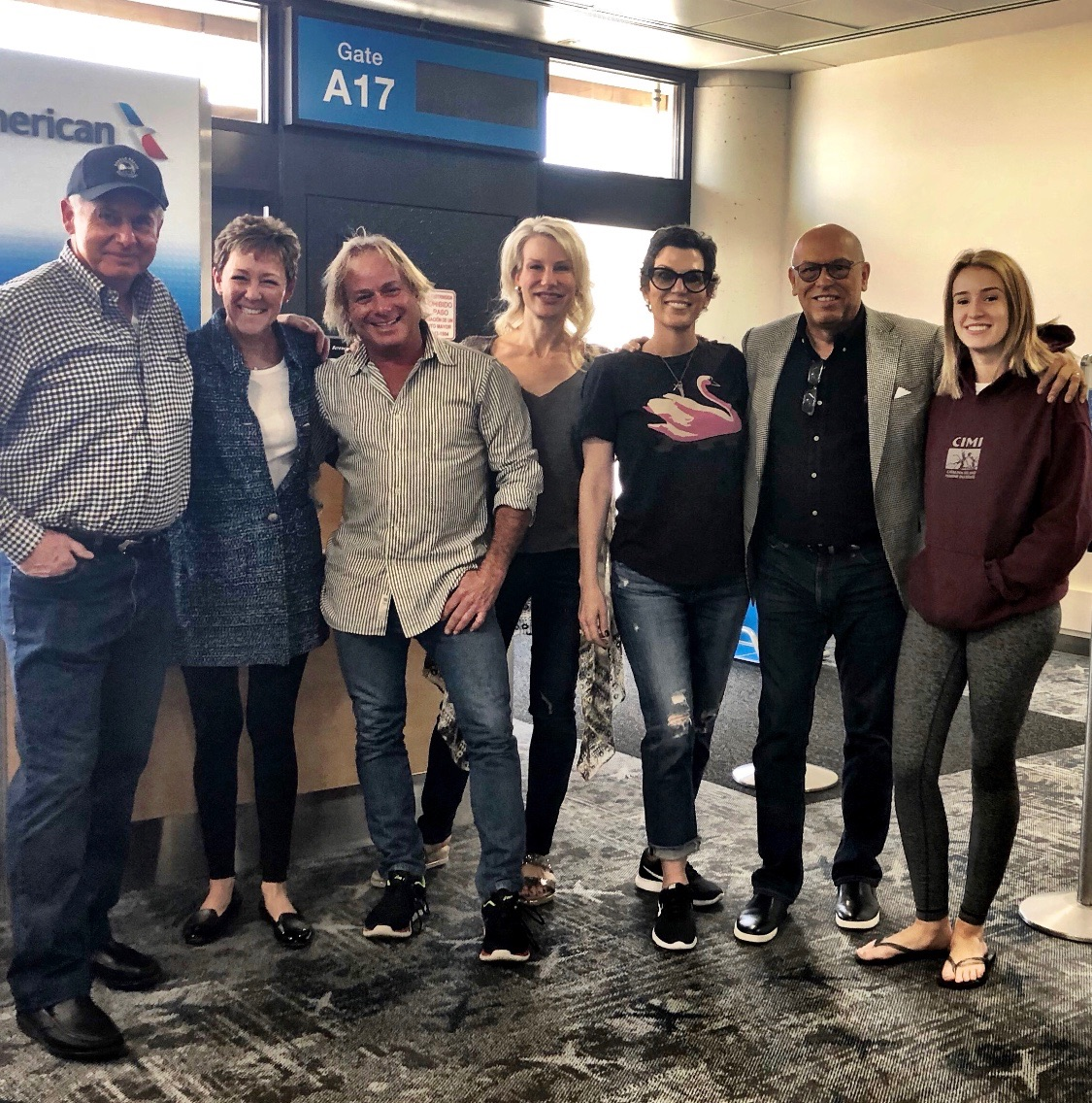 The Phoenix Crew ready for departure - Dave and Becky Stockett, Walter Spitz, Denise Lewis, Isabel, MC and Bella! Tiffany is meeting us in Miami and the Stankovic's are already in Spain!