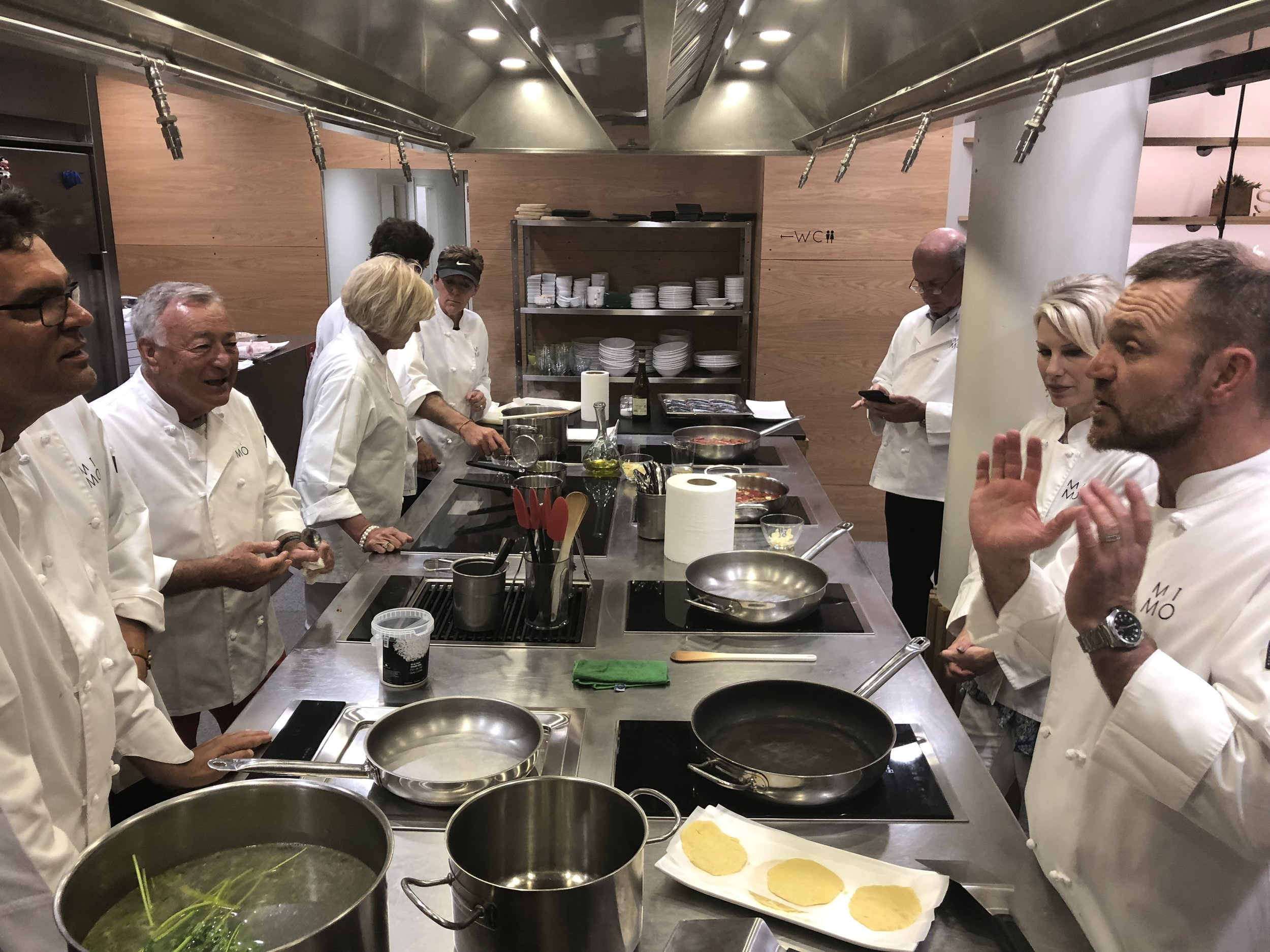 Our Candelaria Design Travelers at the Mimo Sn Sebastian School of Cooking
