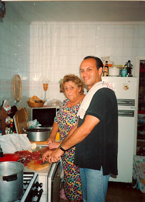 My first trip to Spain in 1990 making my first paella with Mama in Luanco!