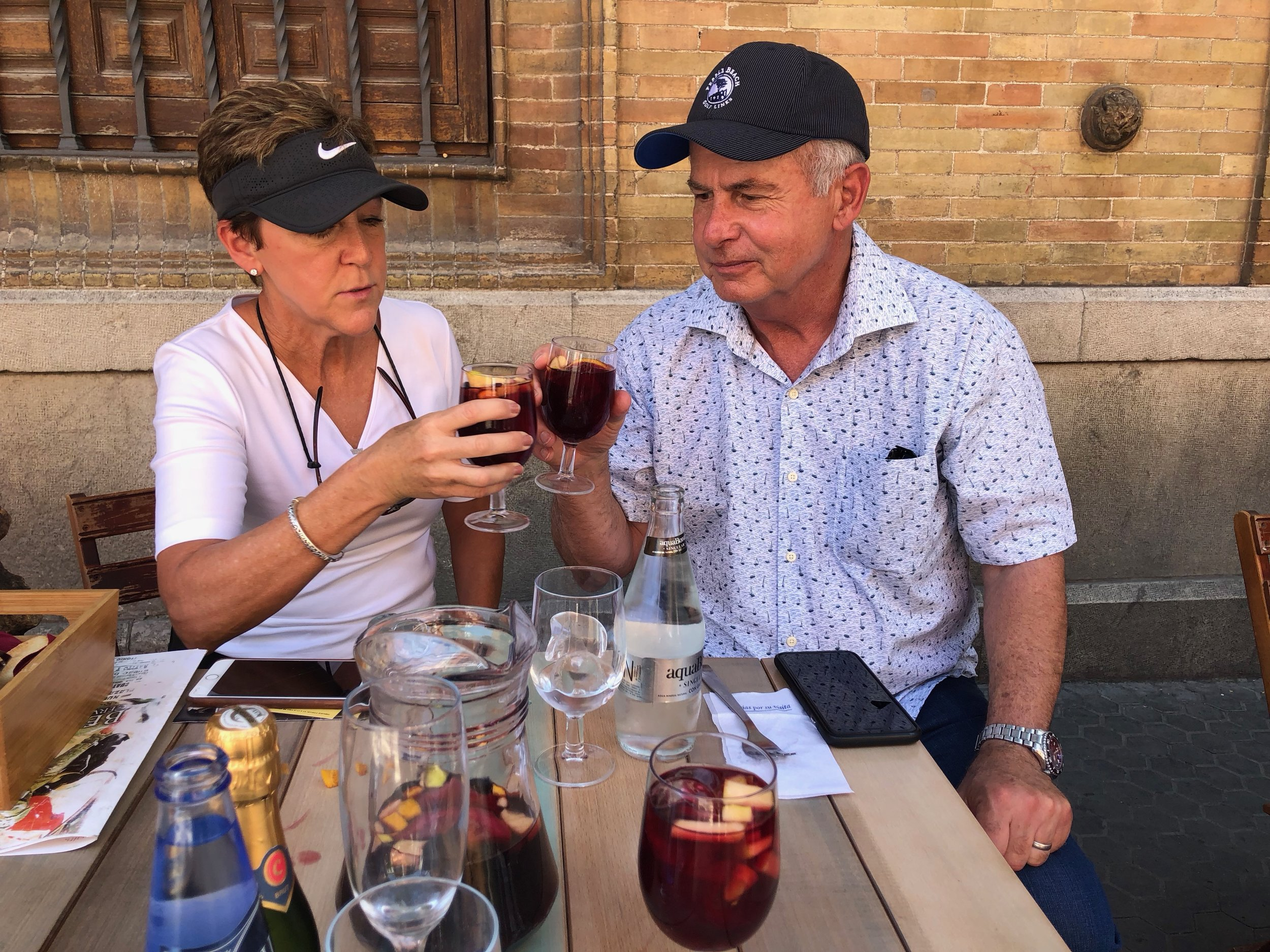 Becky and Dave Stockett enjoying some refreshing sangria in Sevilla