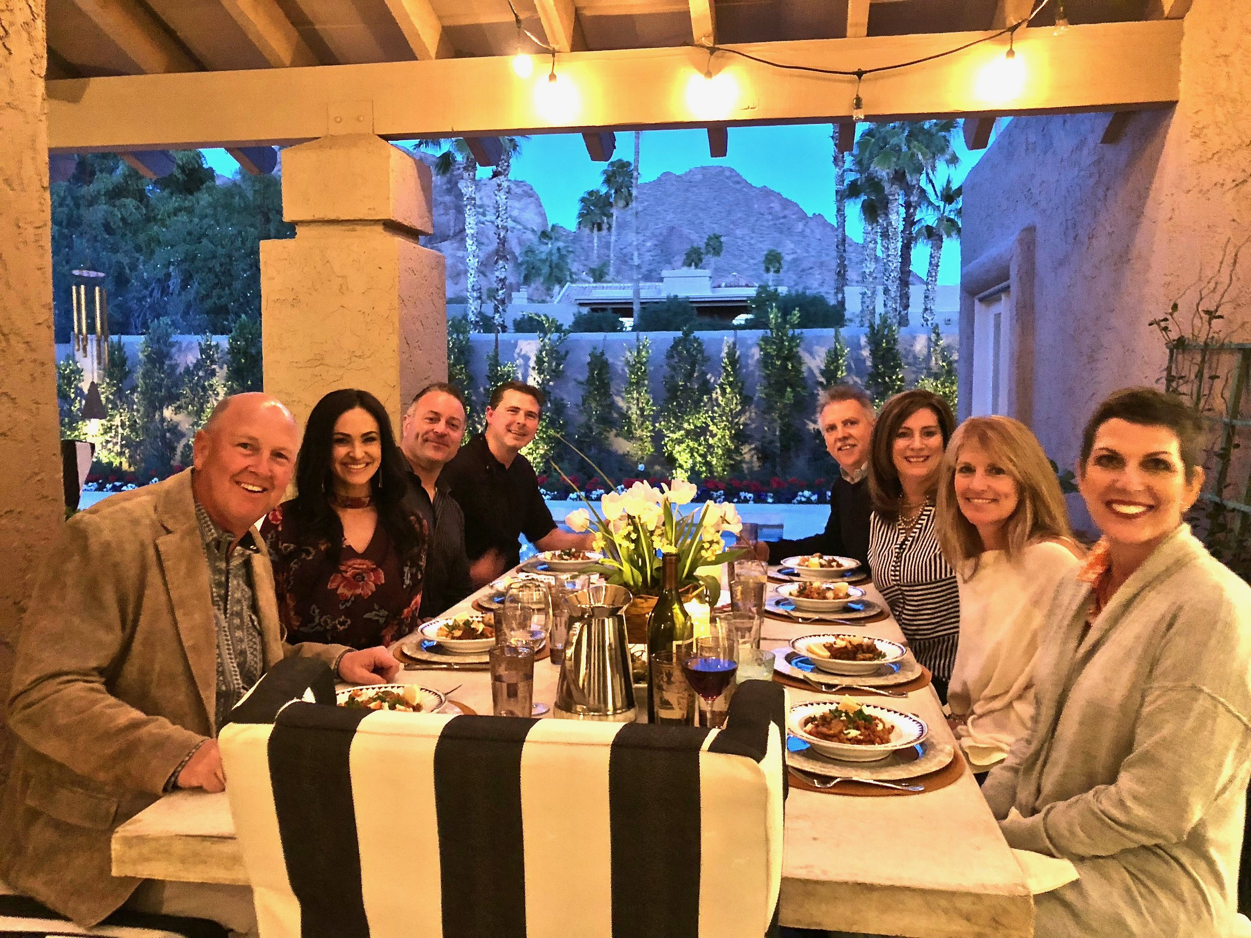 Al fresco dining with the Anderson Window execs at Casa Candelaria, March 2018
