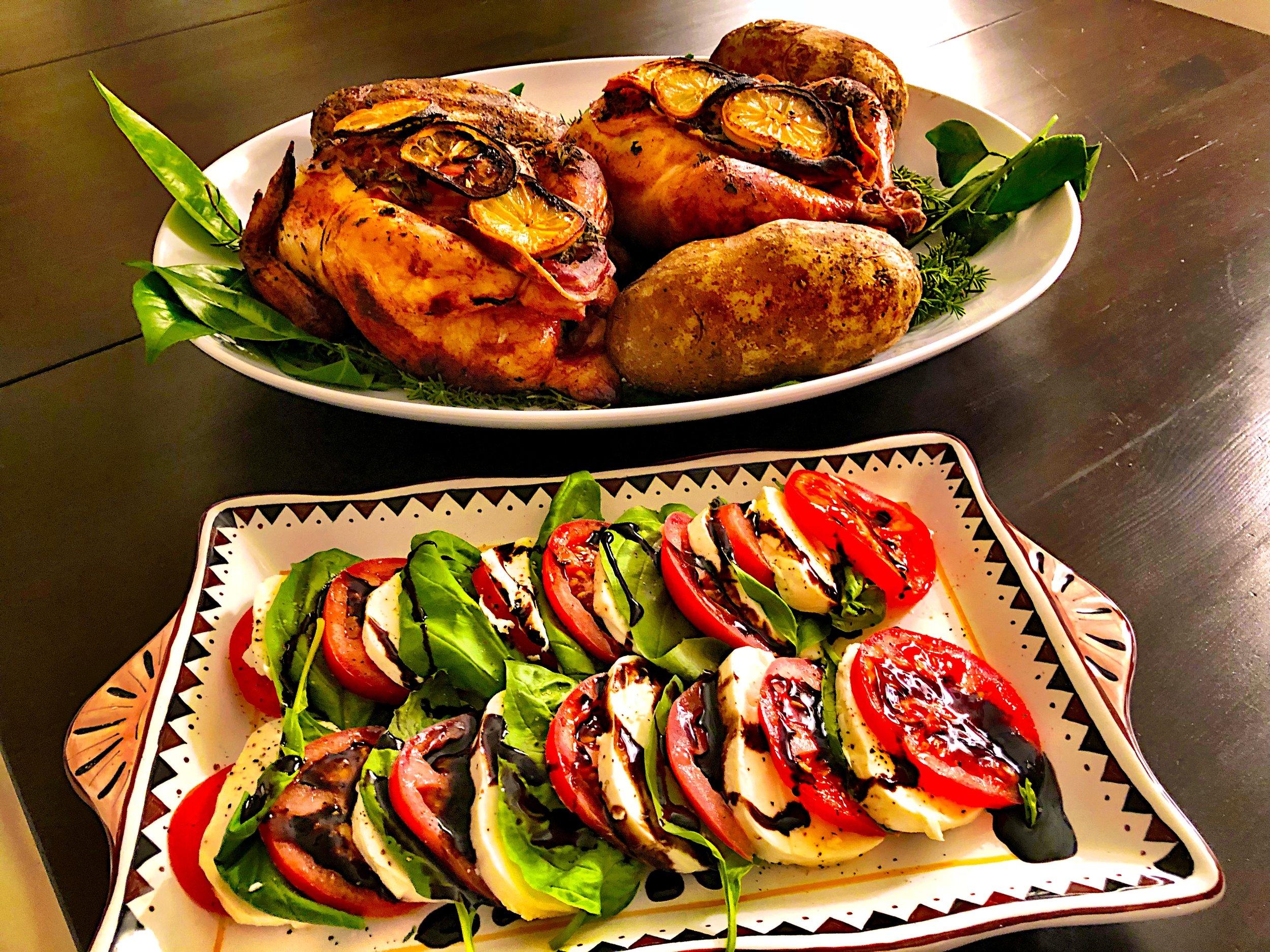 MC's lemon and herb rotisserie chicken, baked potato, and caprese salad.