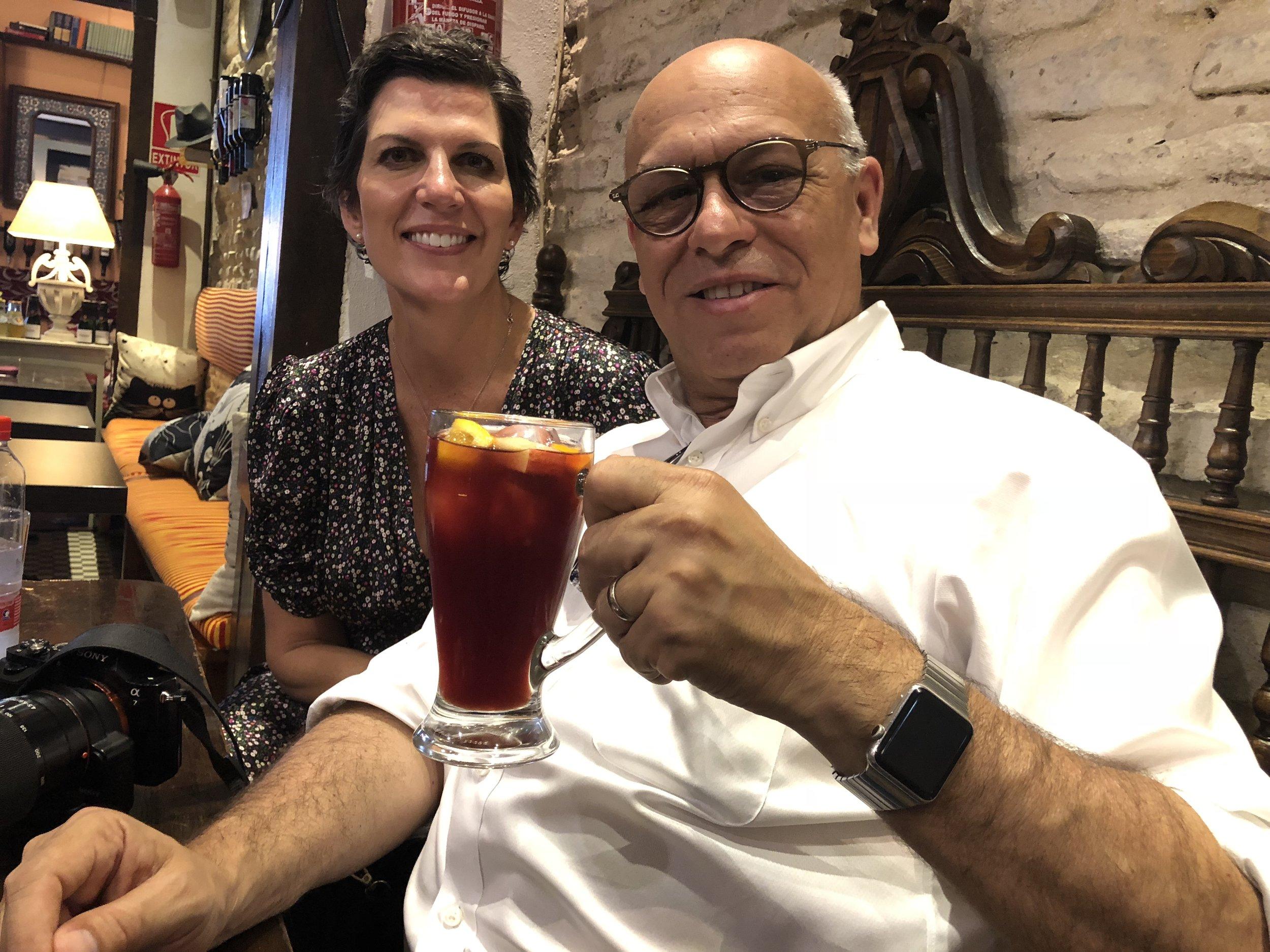 Enjoying a sangria in Spain 2018