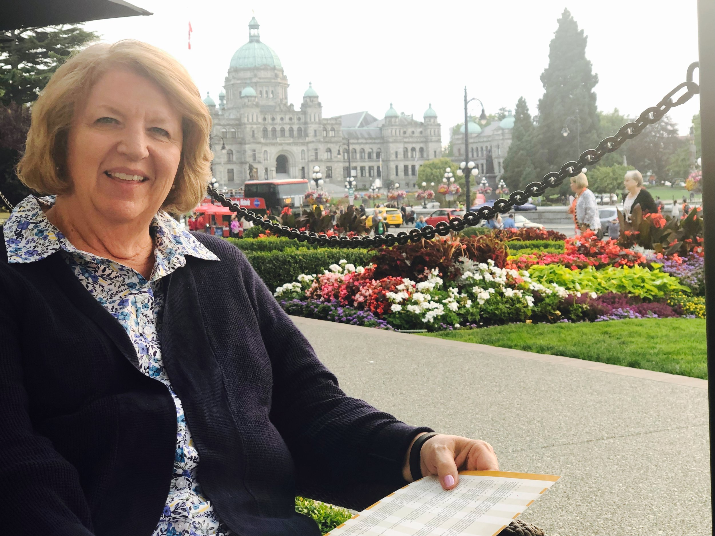 Isabel's Mom, Alette, enjoying the evening on the Terrace at the Empress Hotel
