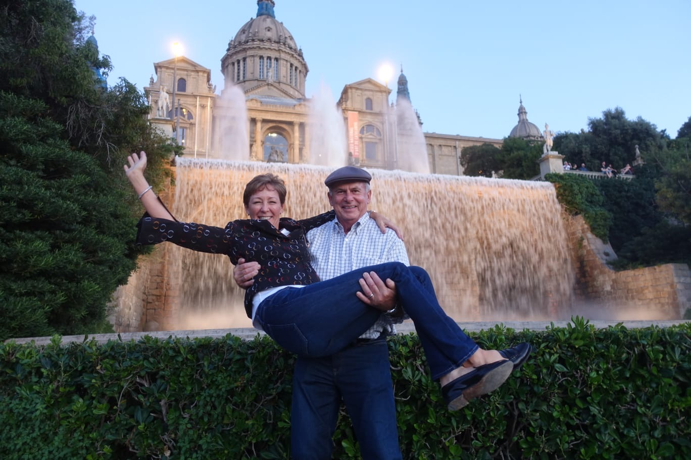 Becky and Dave Stockett getting carried away in Barcelona!