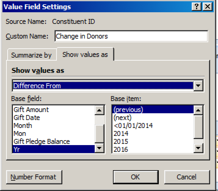 Raiser's Edge Pivot Reports Value Field Settings
