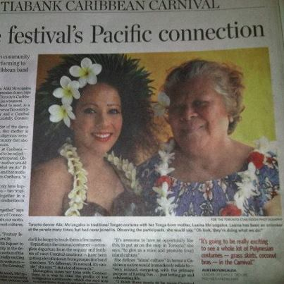 The Hawaiian Dance Company founders. Toronto Star article.   Founders of The Hawaiian Dance Company. Mother & Daughter Team.    Aliki Kavouras (to the left) & La'aina Mo'ungaloa Kavouras (to the right)