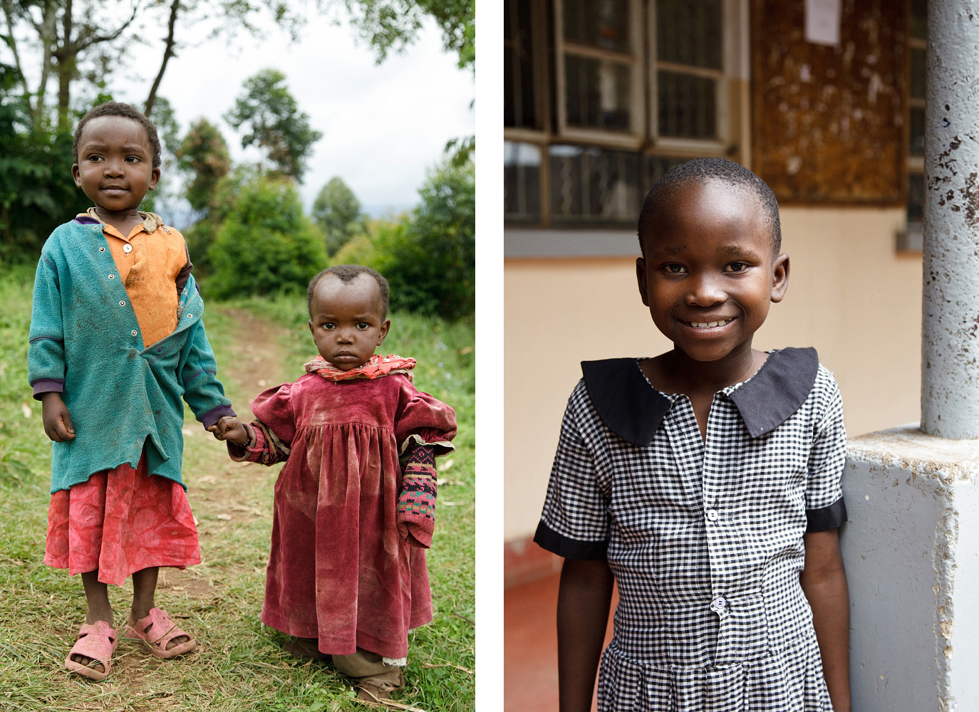 Left: Children in Kibosho-Umbwe Right: One of Artist for World Peace's sponsored orphans at her school in Moshi