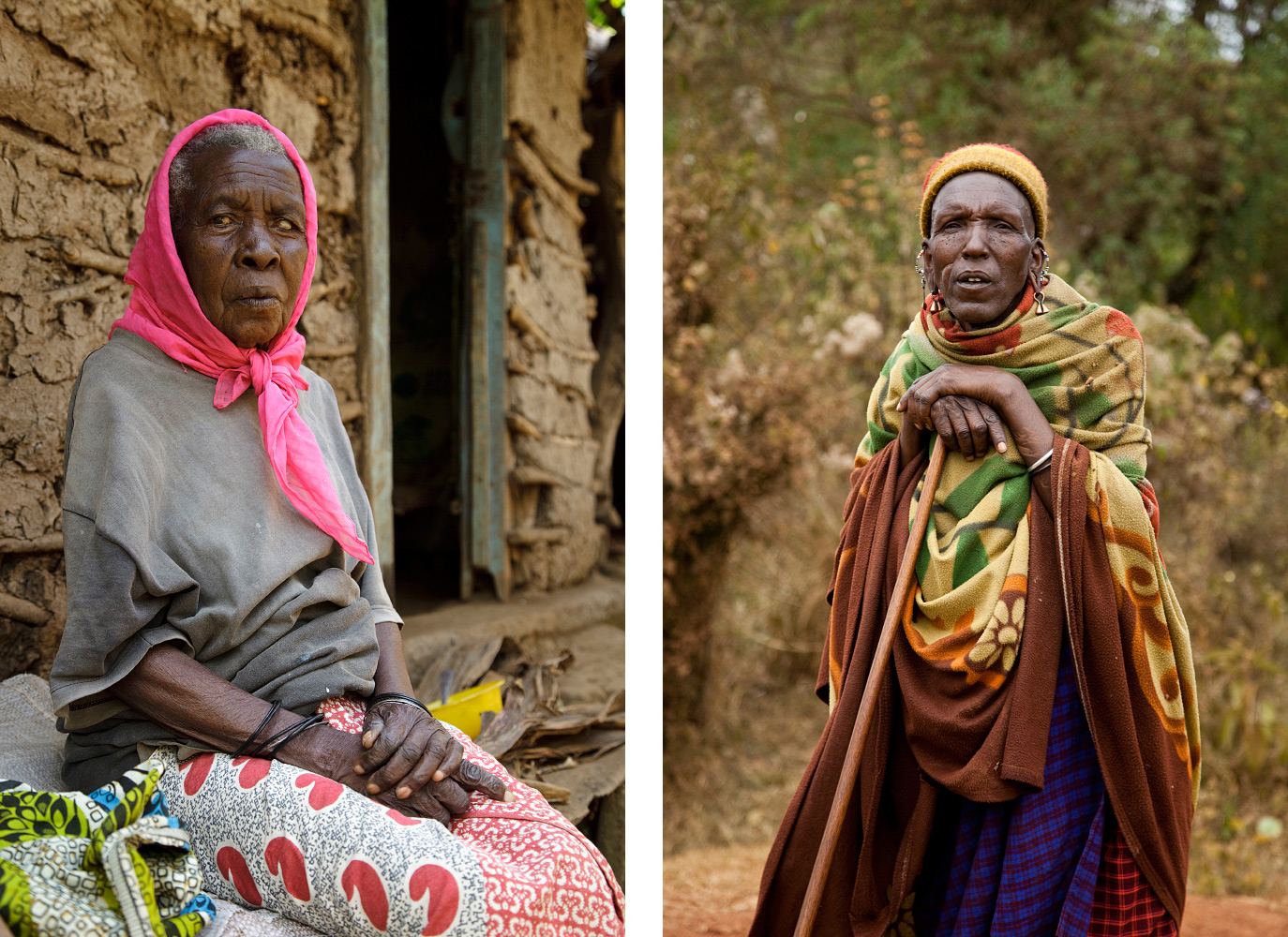 Local woman in Kibosho-Umbwe and Massai man in the lowlands of Tanzania.