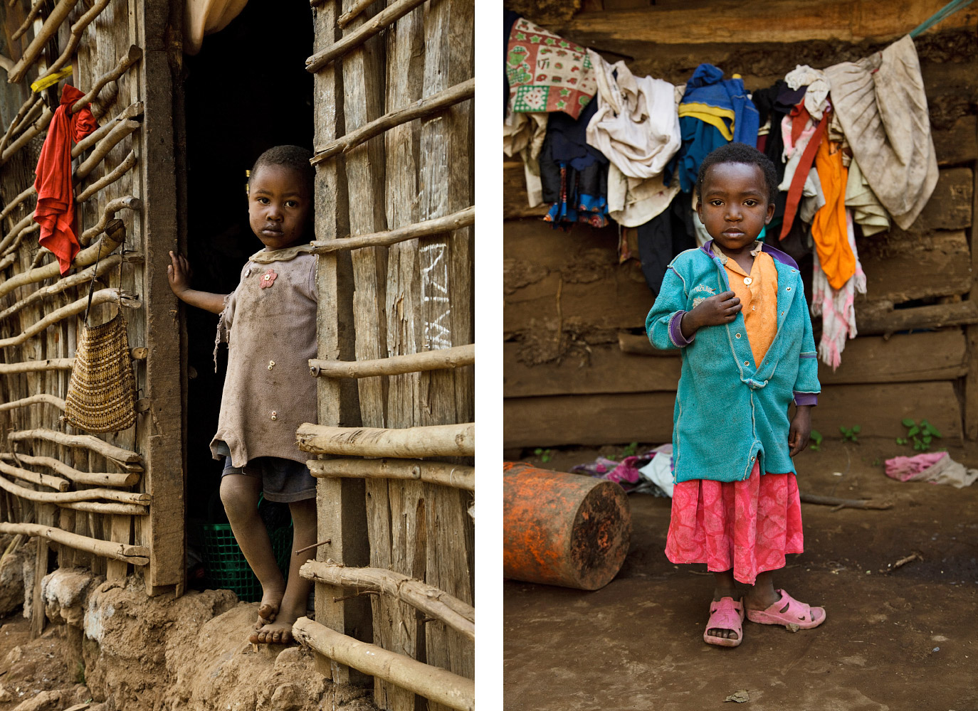 Small village children in front of their huts in Kibosho-Umbwe