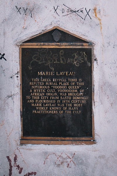 Marker on Marie Laveau's Tomb