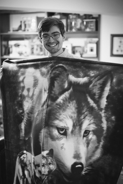 Brian and the wolf blanket