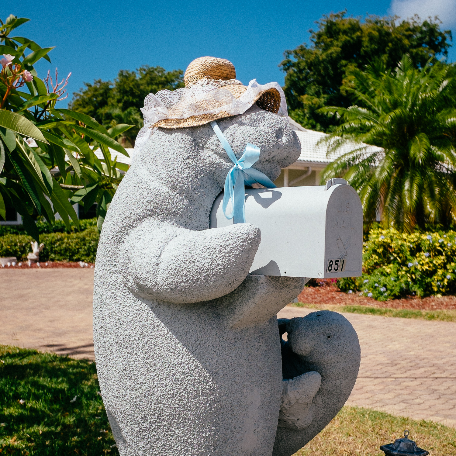 Marco Island, where they dress their concrete manatees, too