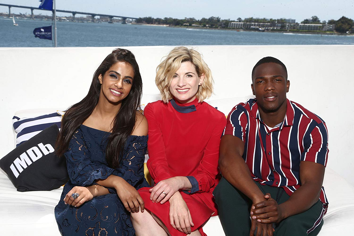 Tosin Cole with Jodie Whittaker and Mandip Gill via IMDb